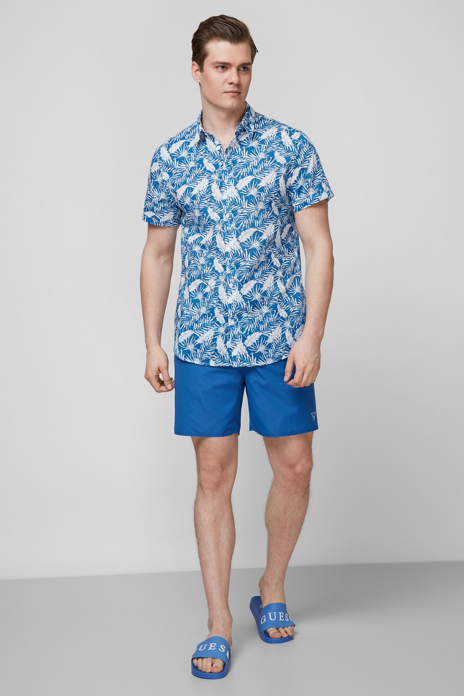 Мужские синие плавательные шорты Guess F1GT50.TEL60;F72K