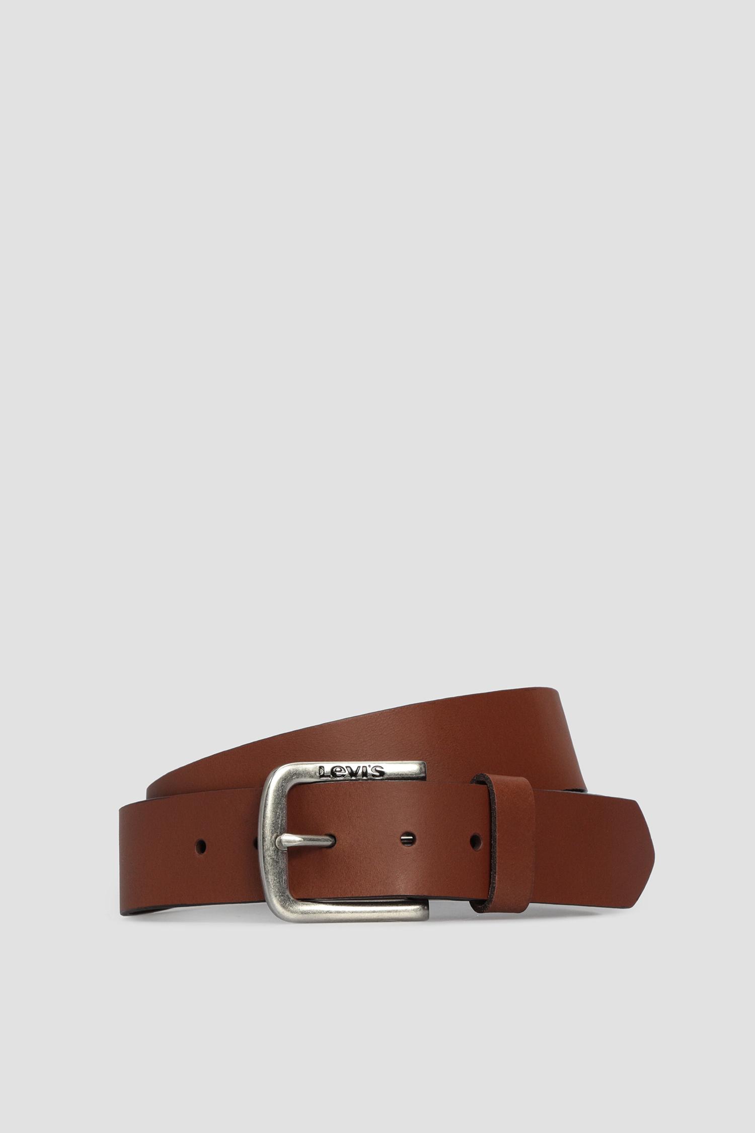 Мужской коричневый кожаный ремень Levi's 229108;3.27