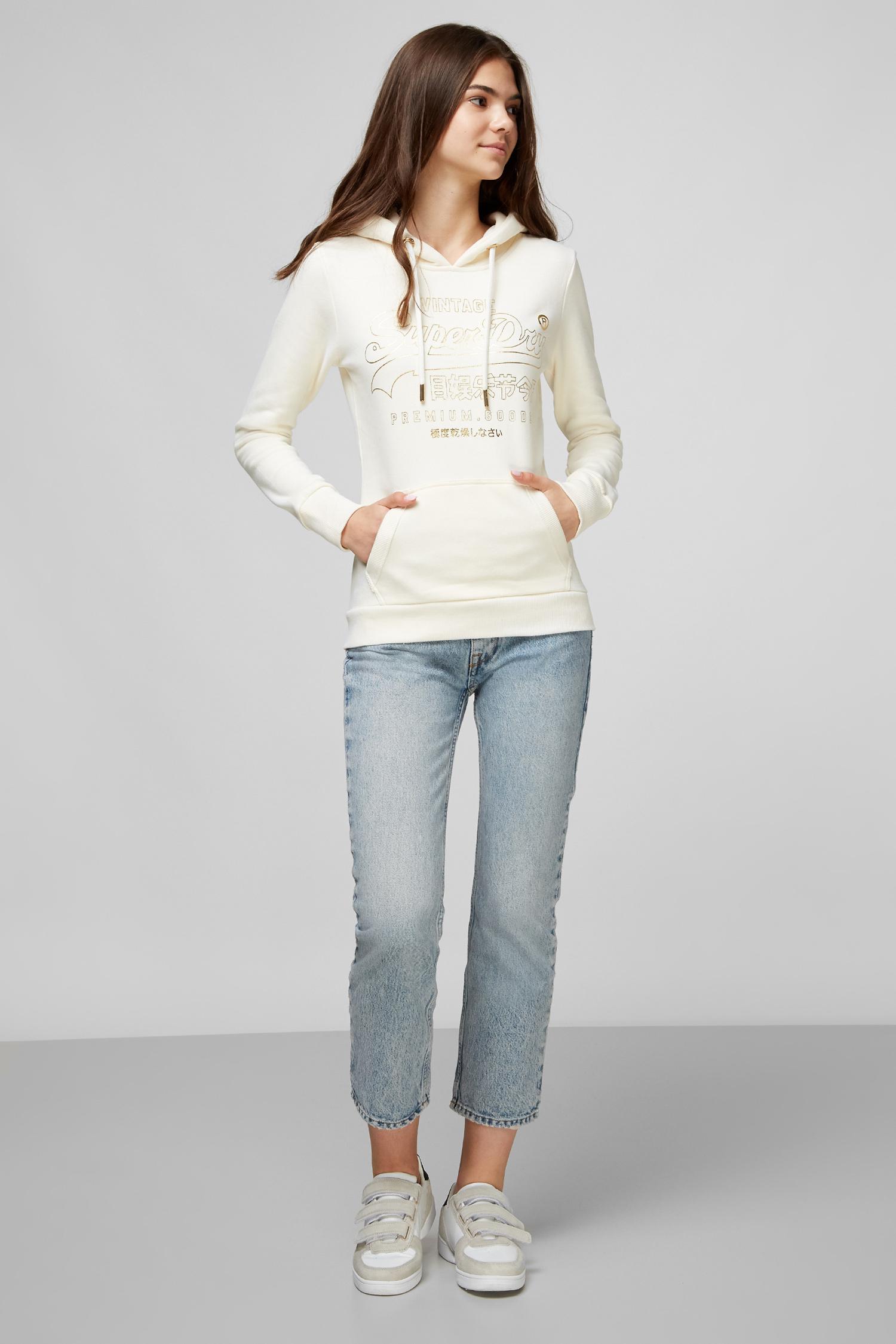 Белое худи для девушек SuperDry W2010189A;22C
