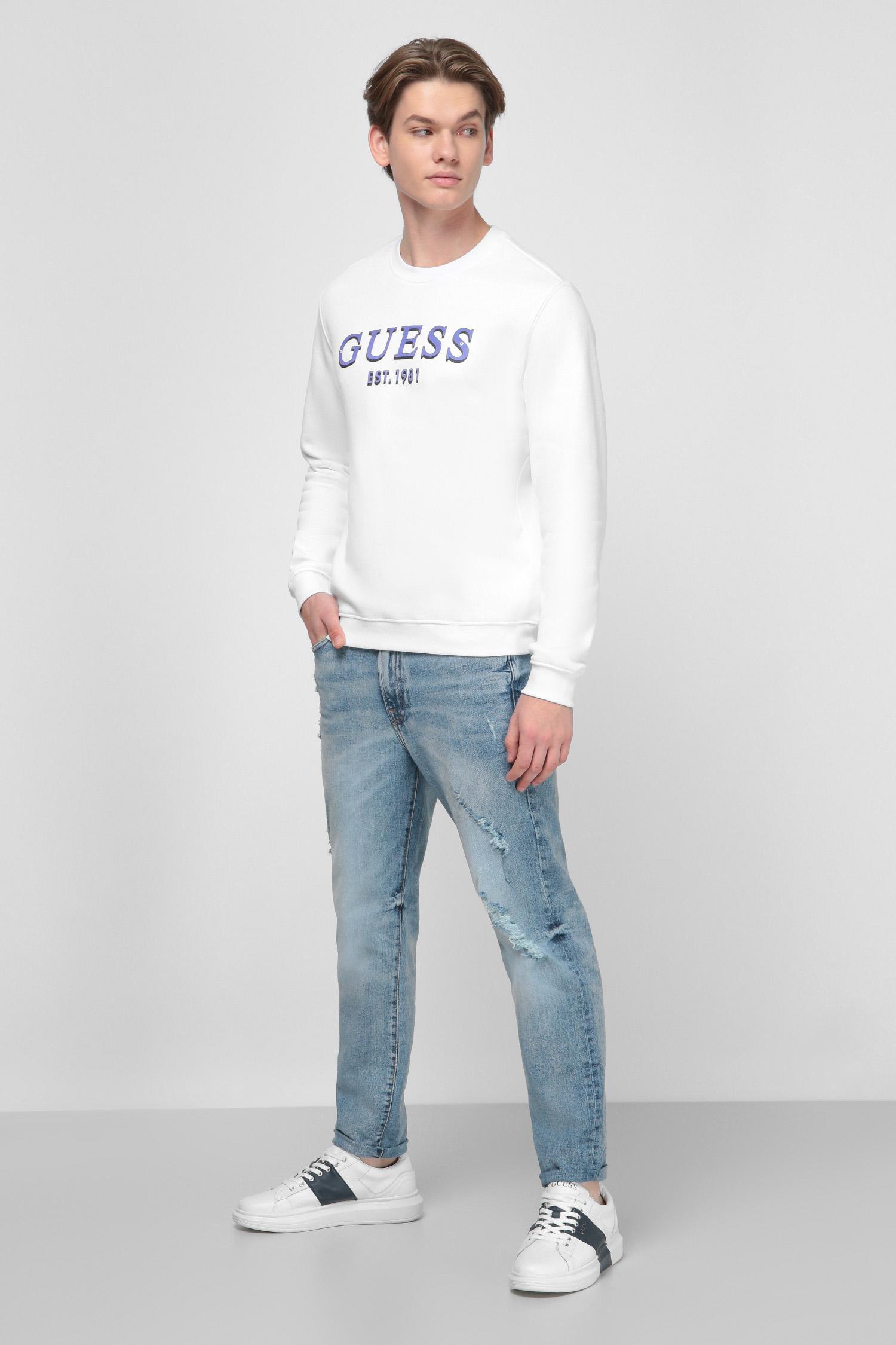 Белый свитшот с принтом для парней Guess M0BQ76.K9V31;TWHT