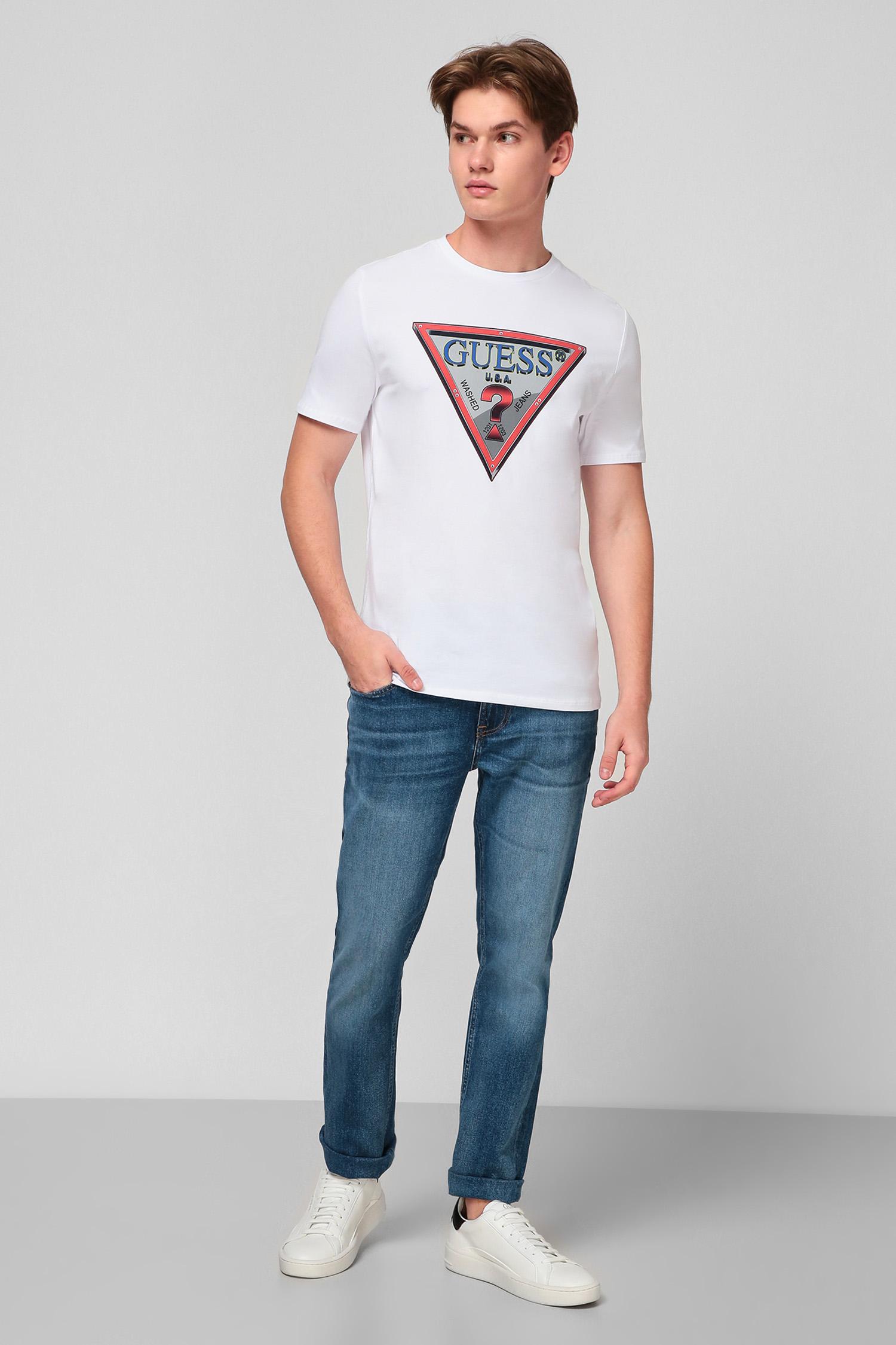 Белая футболка с принтом для парней Guess M0BI58.J1300;TWHT