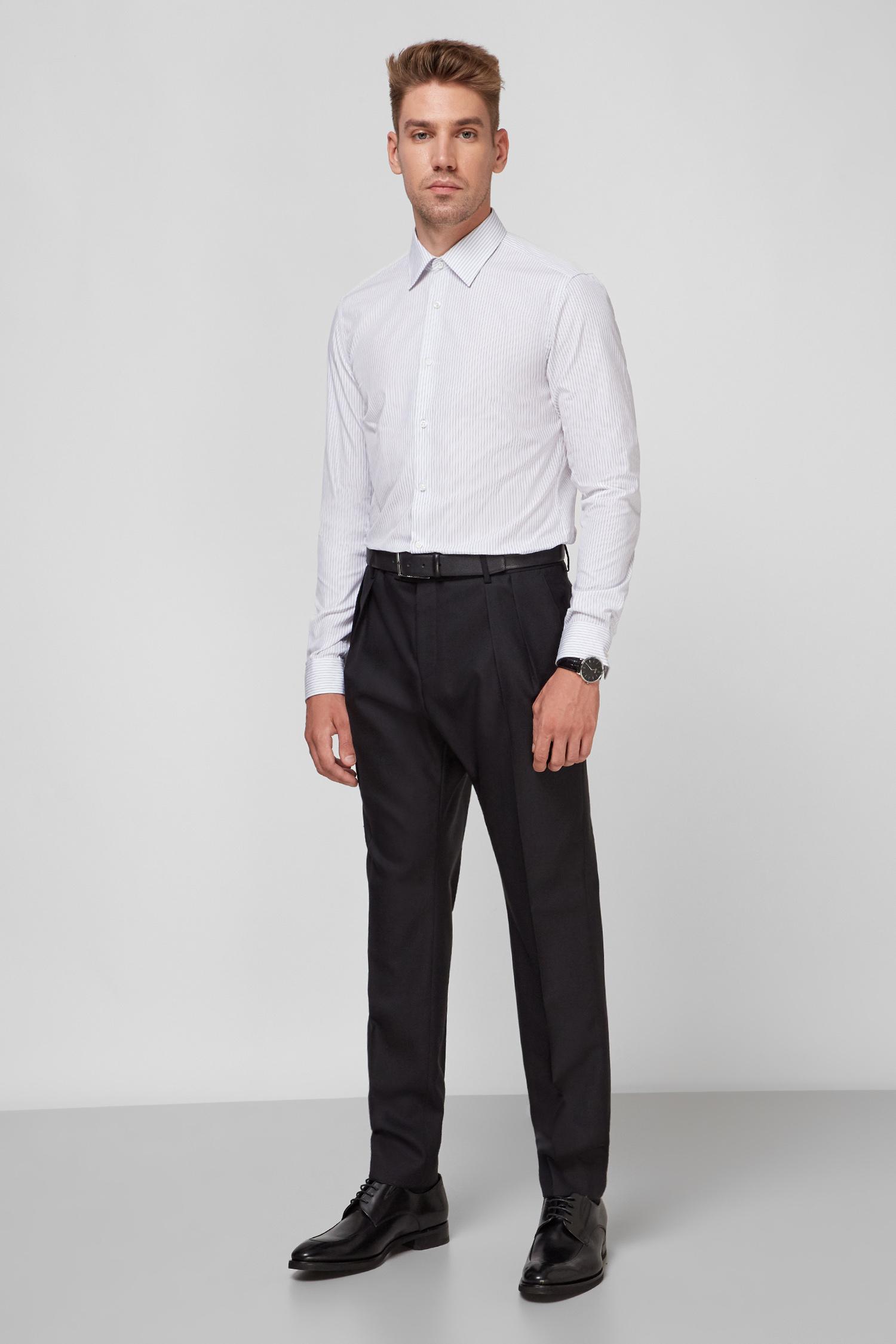 Чоловічі чорні вовняні брюки BOSS 50453709;001