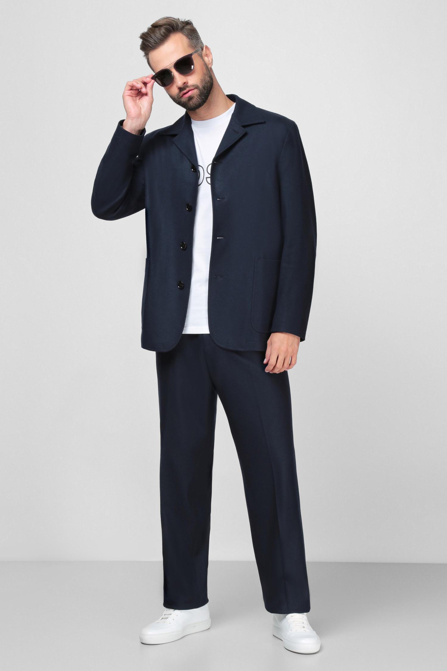 Чоловічі темно-сині вовняні брюки BOSS 50458828;404