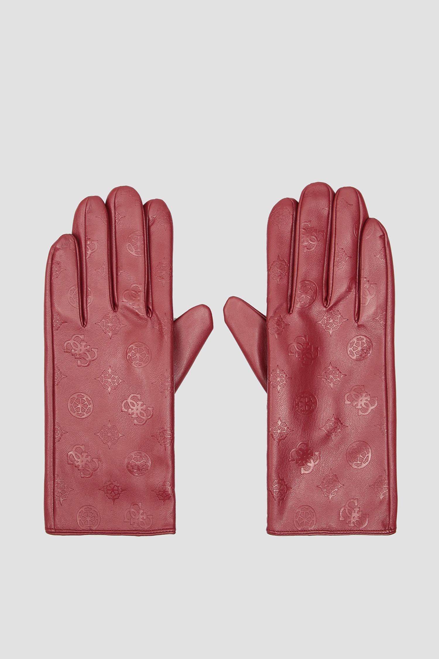 Женские бордовые перчатки Guess AW8537.POL02;MER