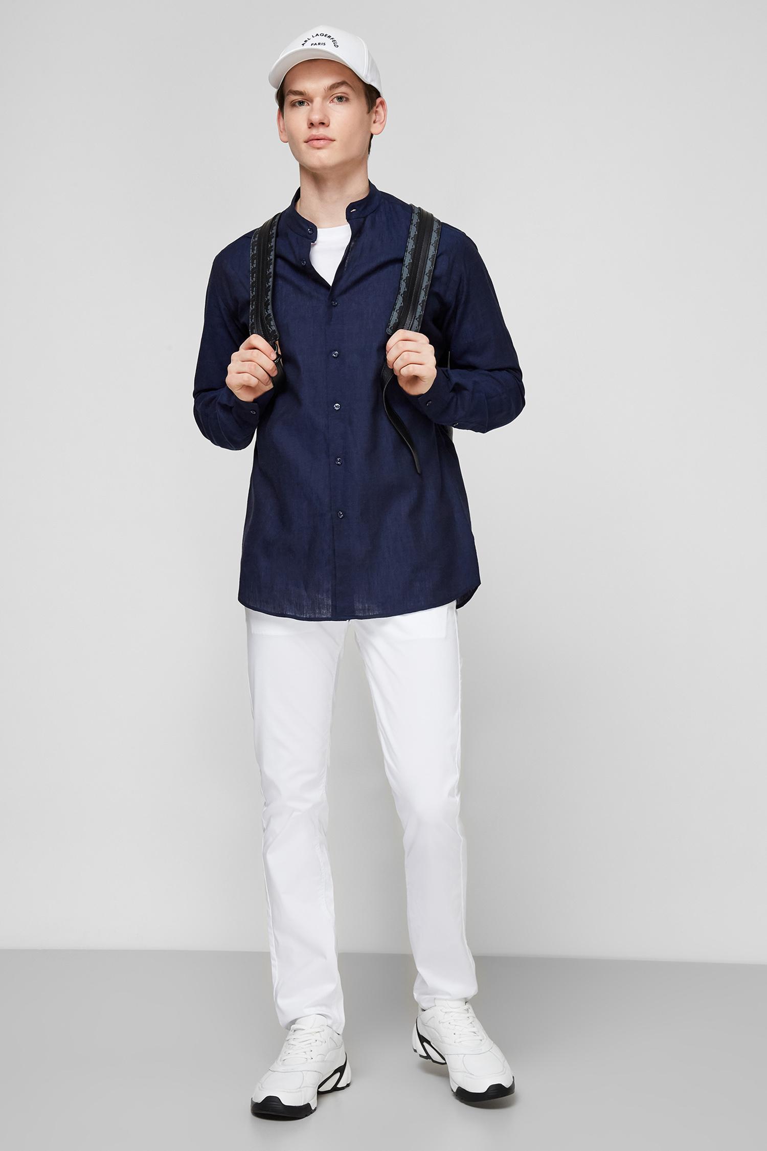 Темно-синяя льняная рубашка для парней Karl Lagerfeld 511628.605035;690