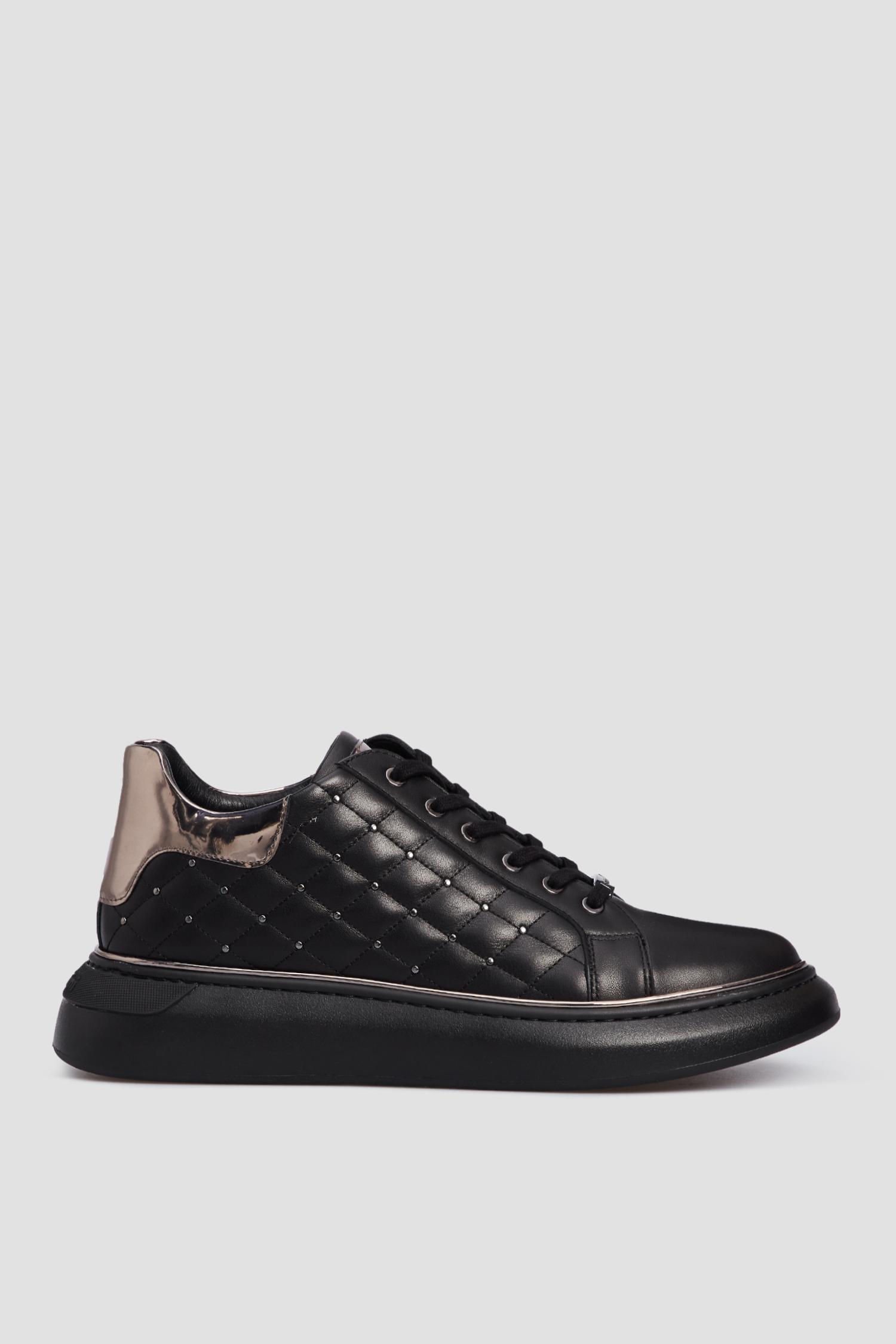 Черные кожаные сникеры для девушек Baldinini 148512;0004