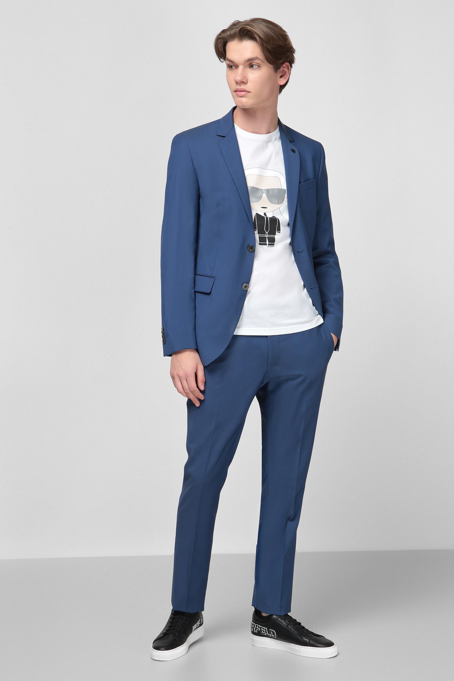Синий шерстяной костюм (пиджак, брюки) для парней Karl Lagerfeld 501098.105200;660