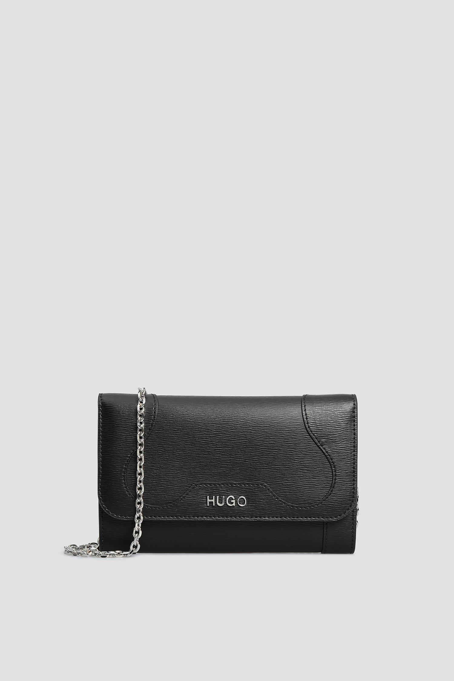 Женский черный кожаный клатч HUGO 50428607;001