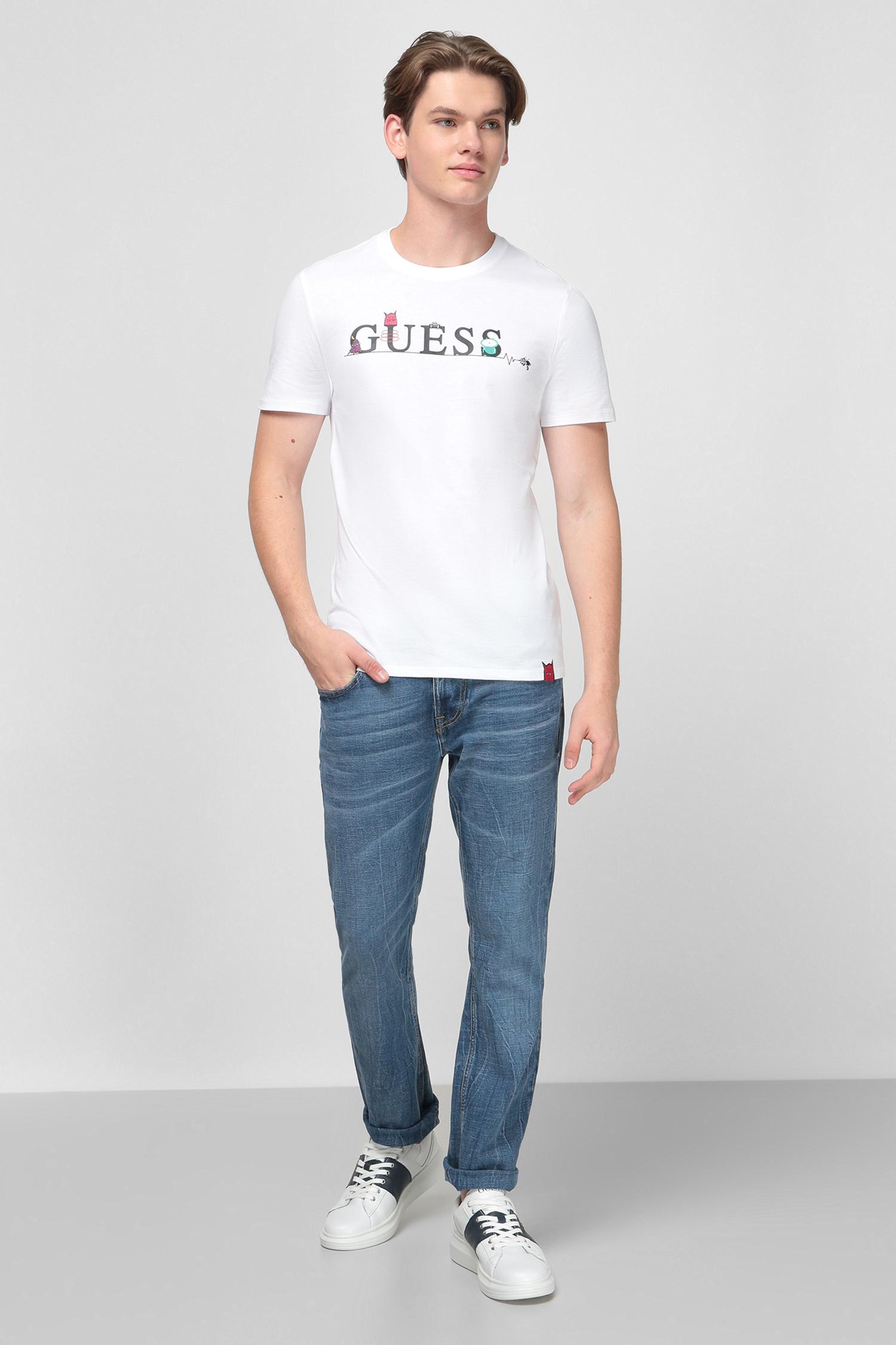Белая футболка с принтом для парней Guess M0YI48.I3Z00;TWHT