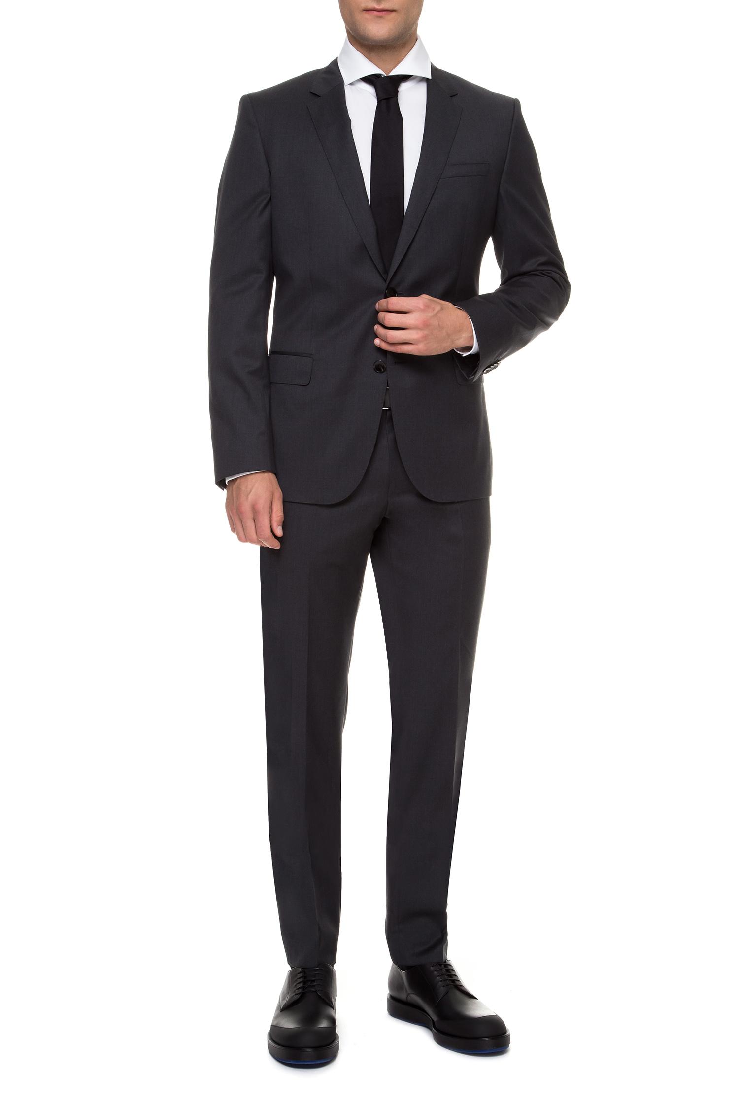 Мужской темно-серый шерстяной костюм (пиджак, брюки) BOSS 50318498К;021