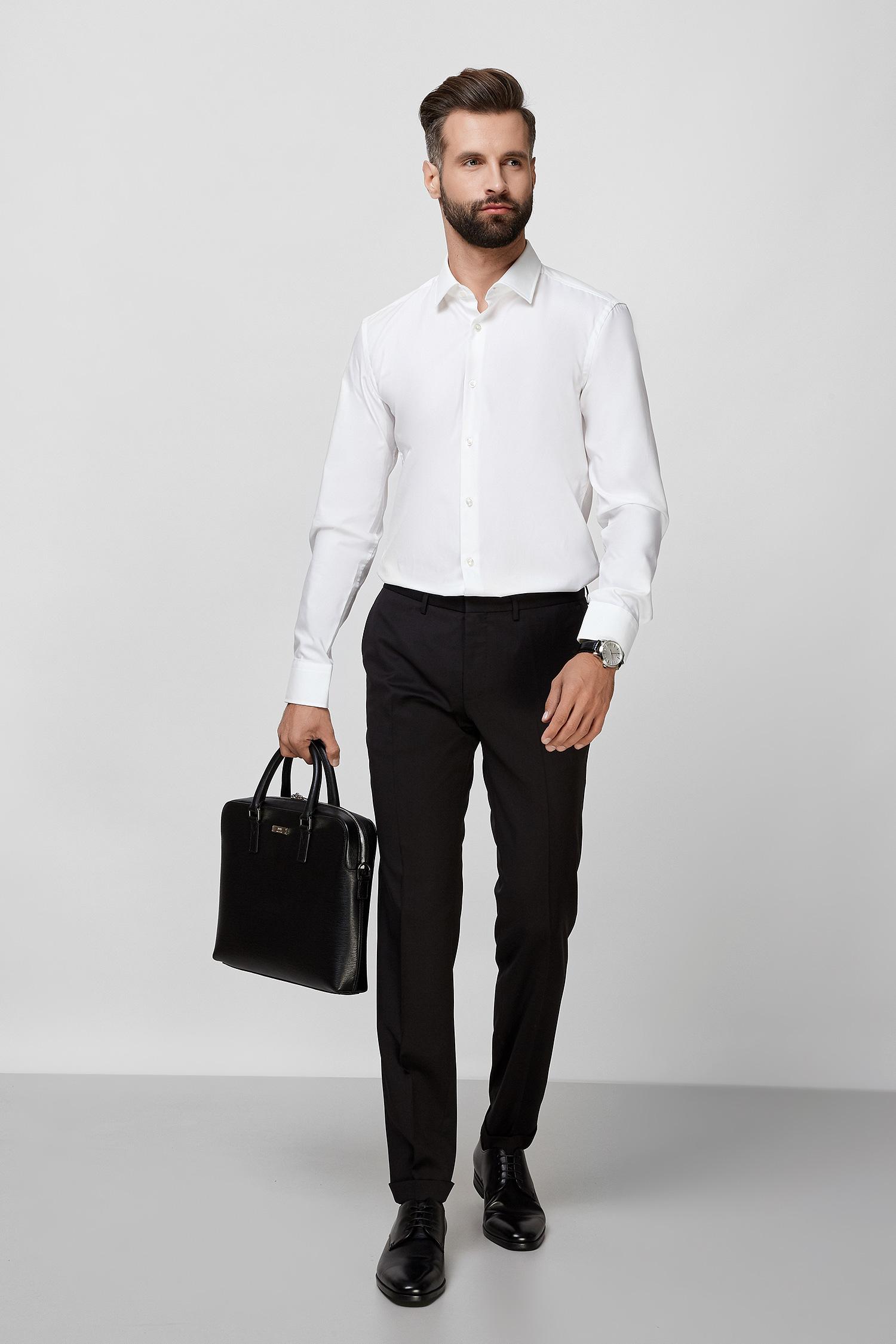 Чоловічі чорні вовняні брюки BOSS 50320555;001