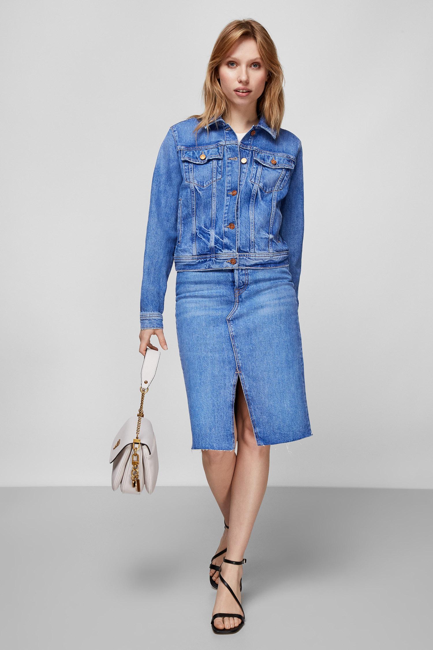 Женская синяя джинсовая куртка Guess W1RN25.D4AM1;DPPP