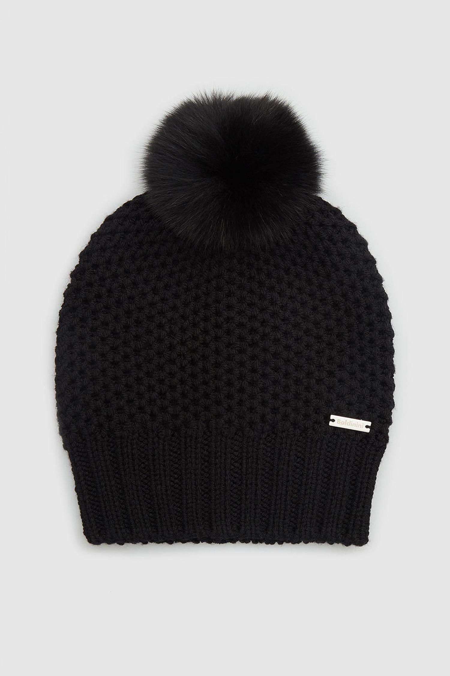 Женская черная шерстяная шапка Baldinini 121519;00
