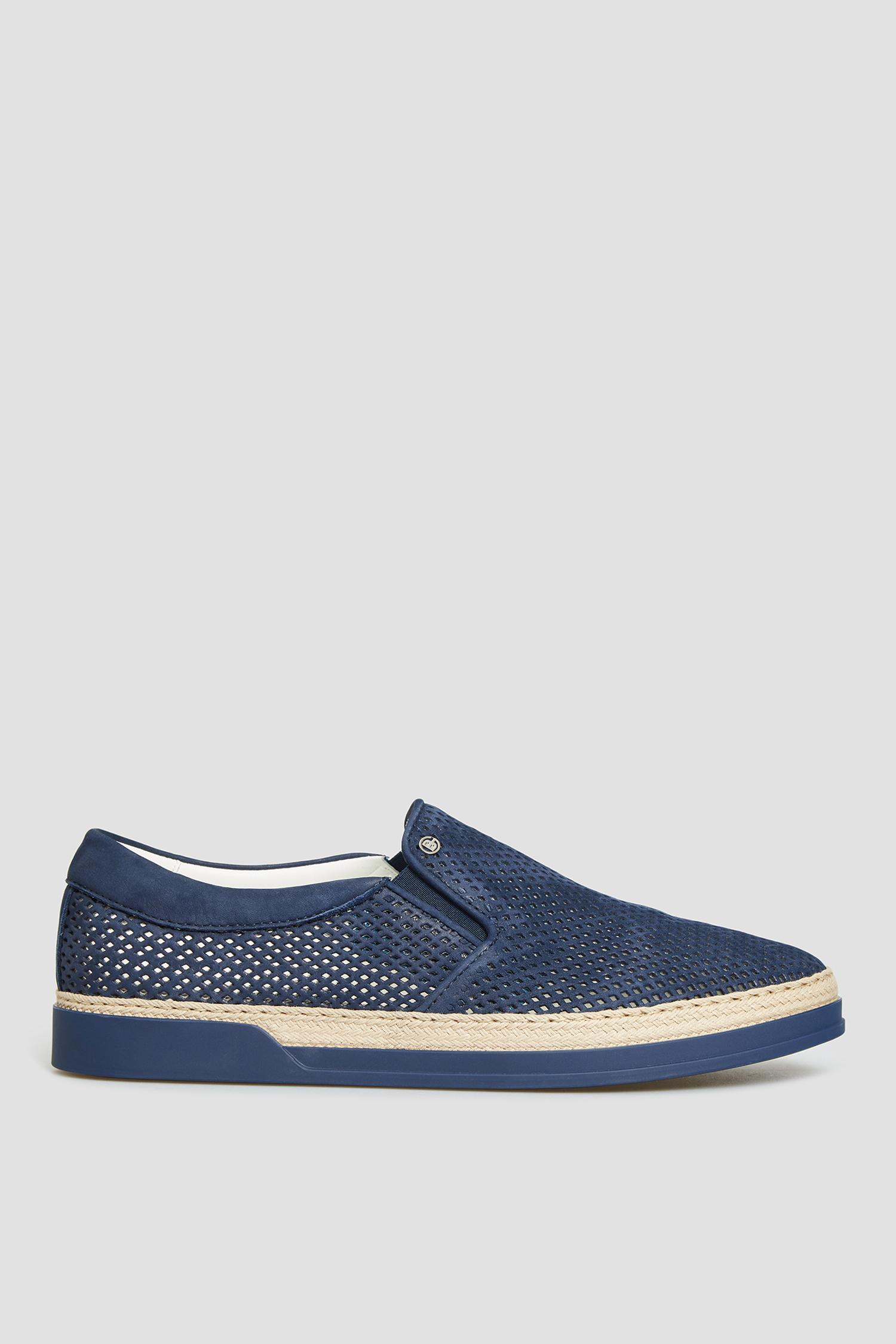 Темно-синие кожаные слипоны для парней Baldinini 197424;10