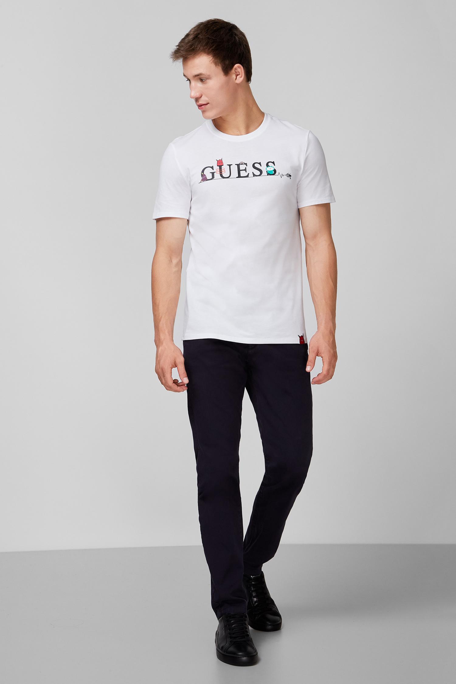 Мужская белая футболка с принтом Guess M0YI48.I3Z00;TWHT