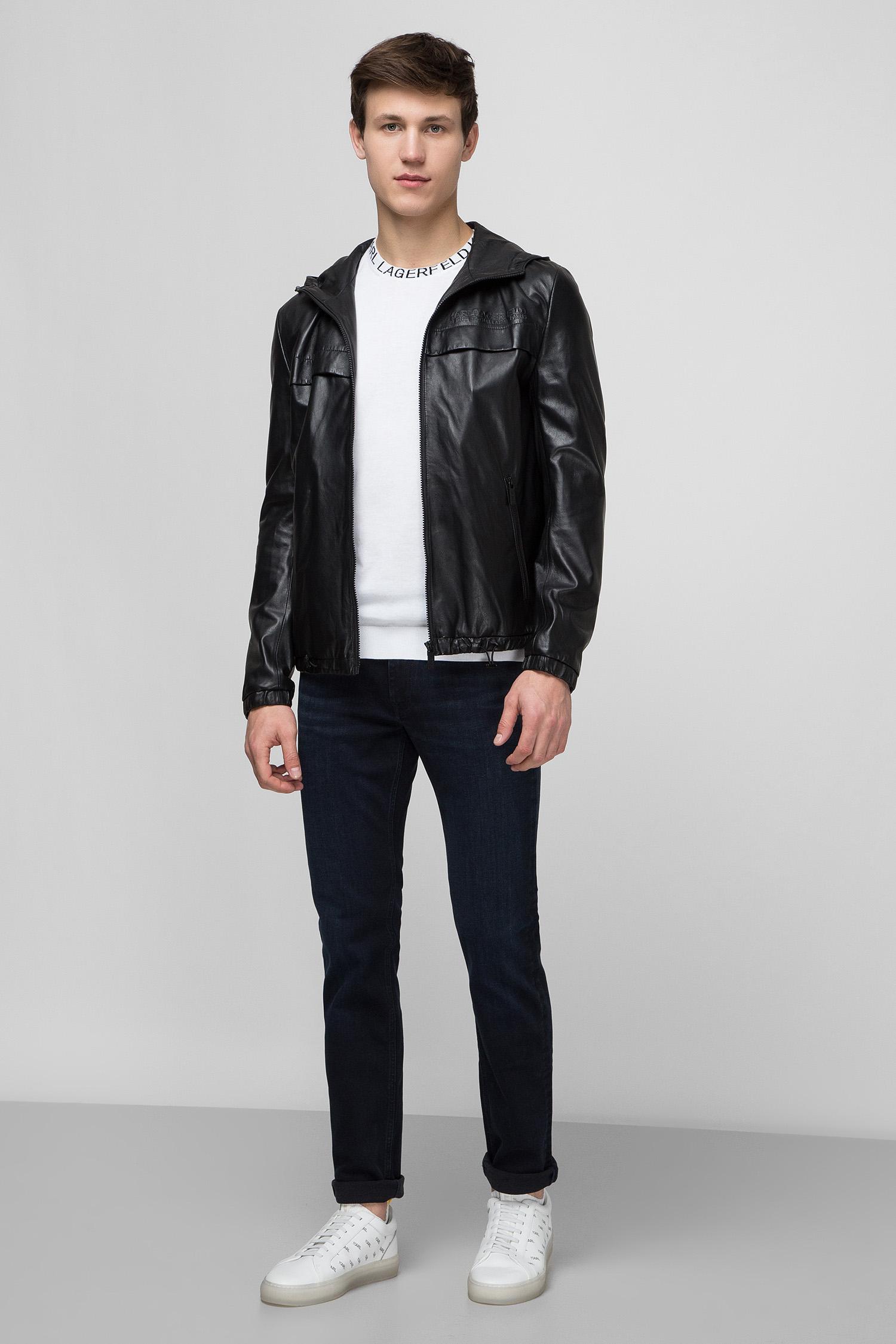 Мужская черная кожаная куртка Karl Lagerfeld 501407.555011;990