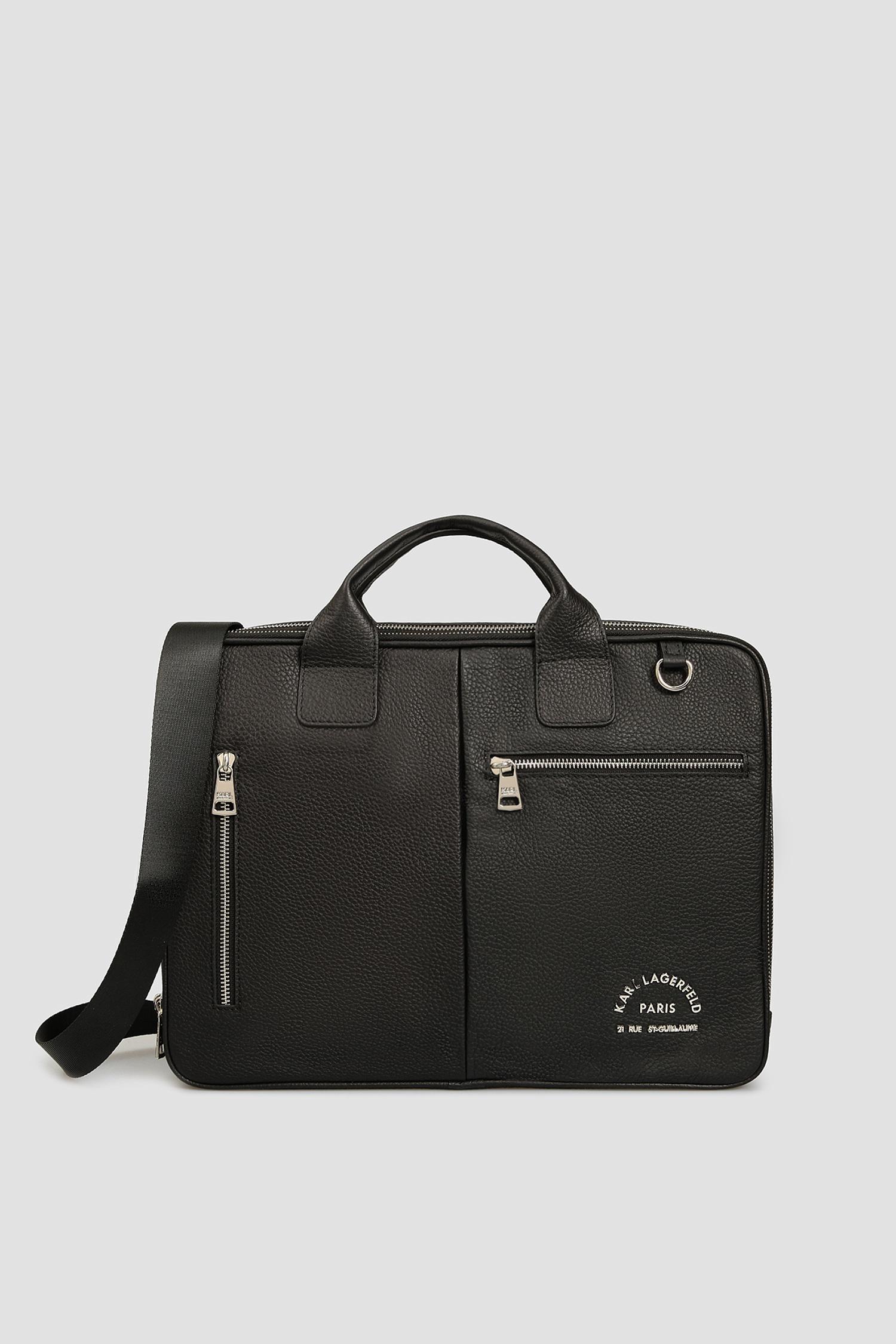 Черная кожаная сумка для ноутбука для парней Karl Lagerfeld 501451.815902;990