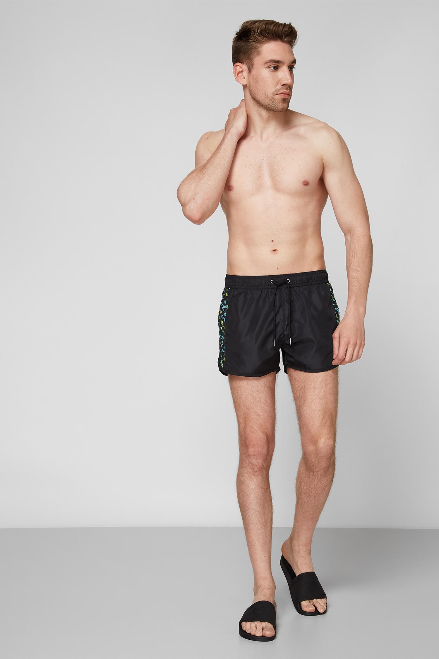 Мужские черные плавательные шорты Karl Lagerfeld KL21MBS05;GREEN/YELLOW