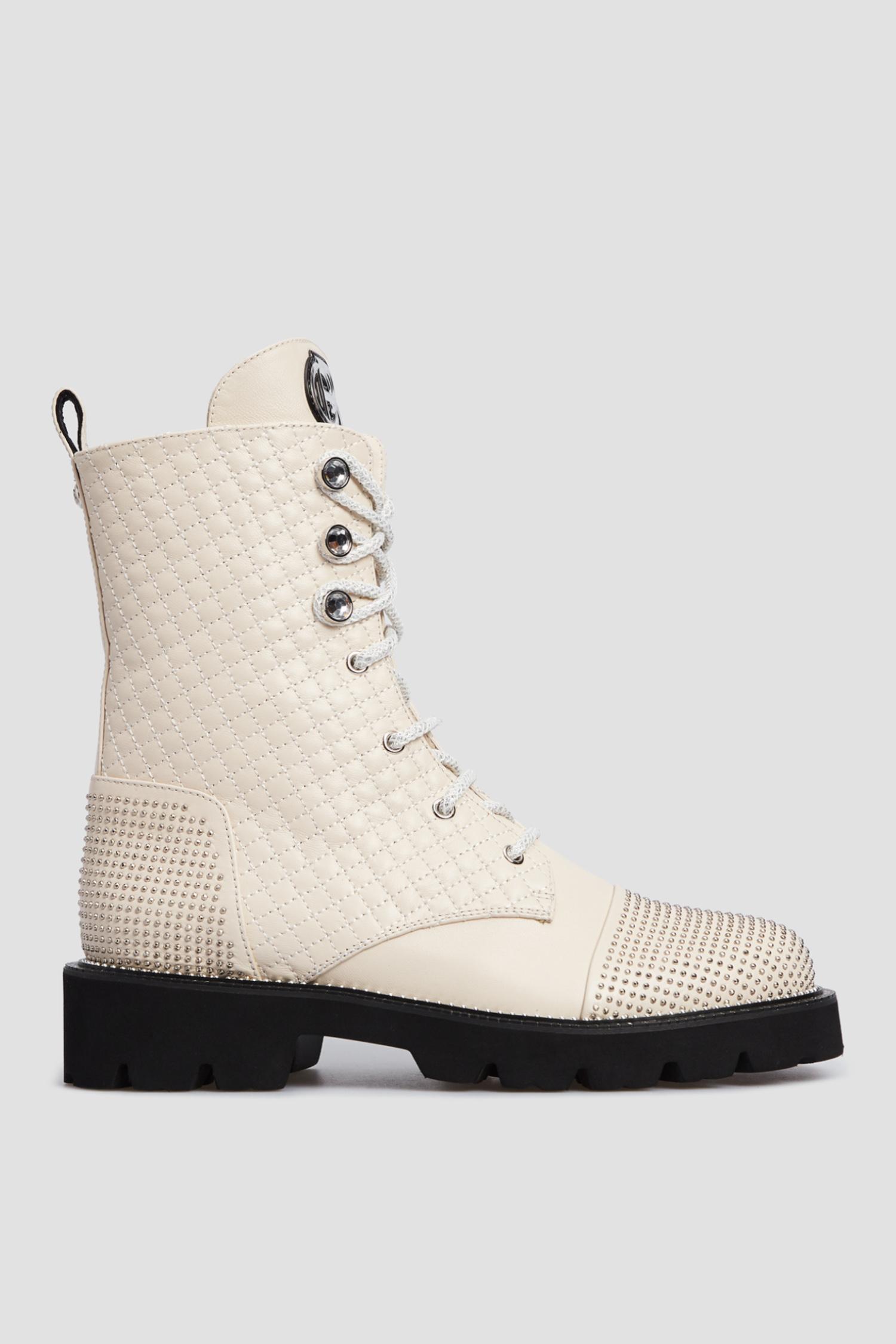 Женские бежевые кожаные ботинки Baldinini 116220;98