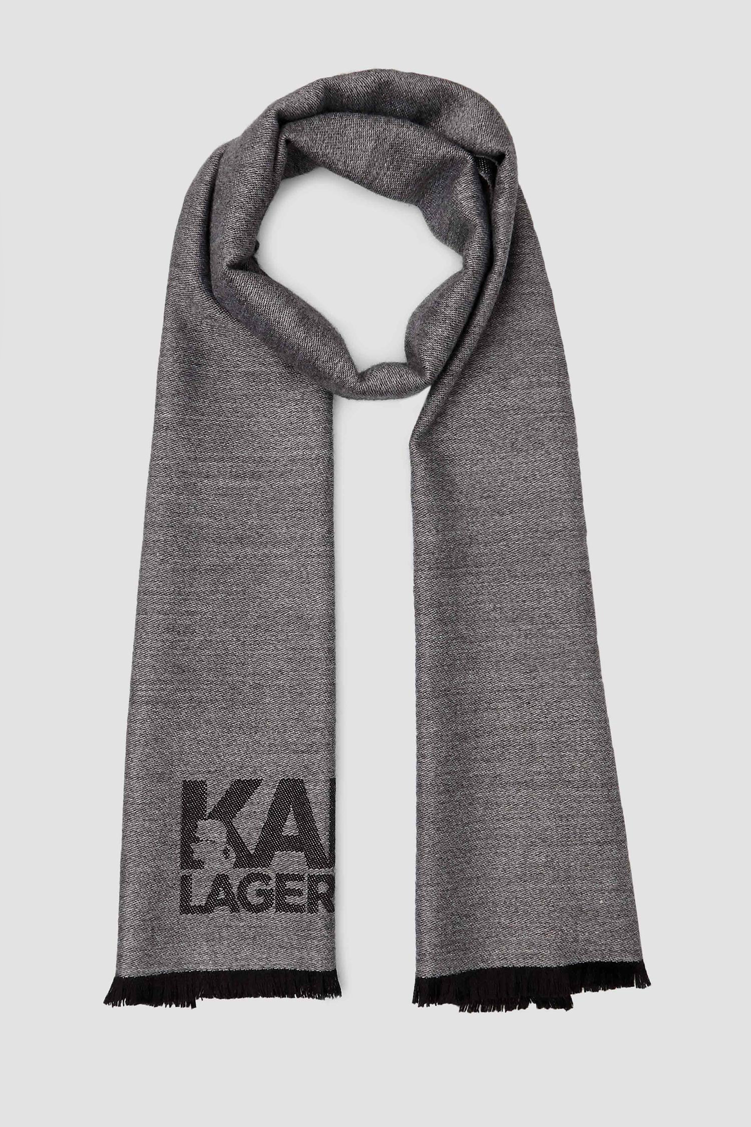 Мужской серый шерстяной шарф Karl Lagerfeld 502136.805001;990