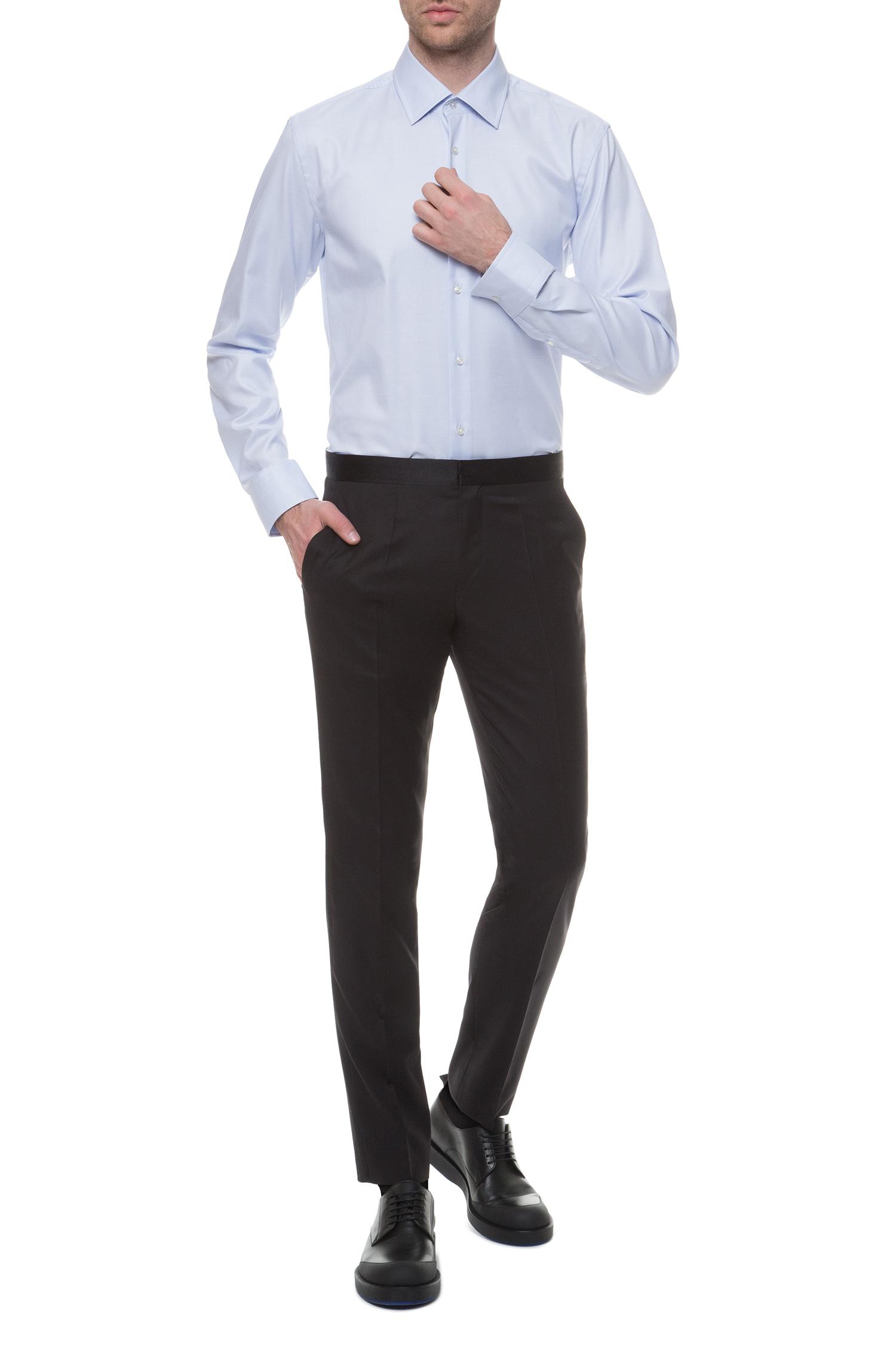 Мужские черные шерстяные брюки BOSS 50375814;001