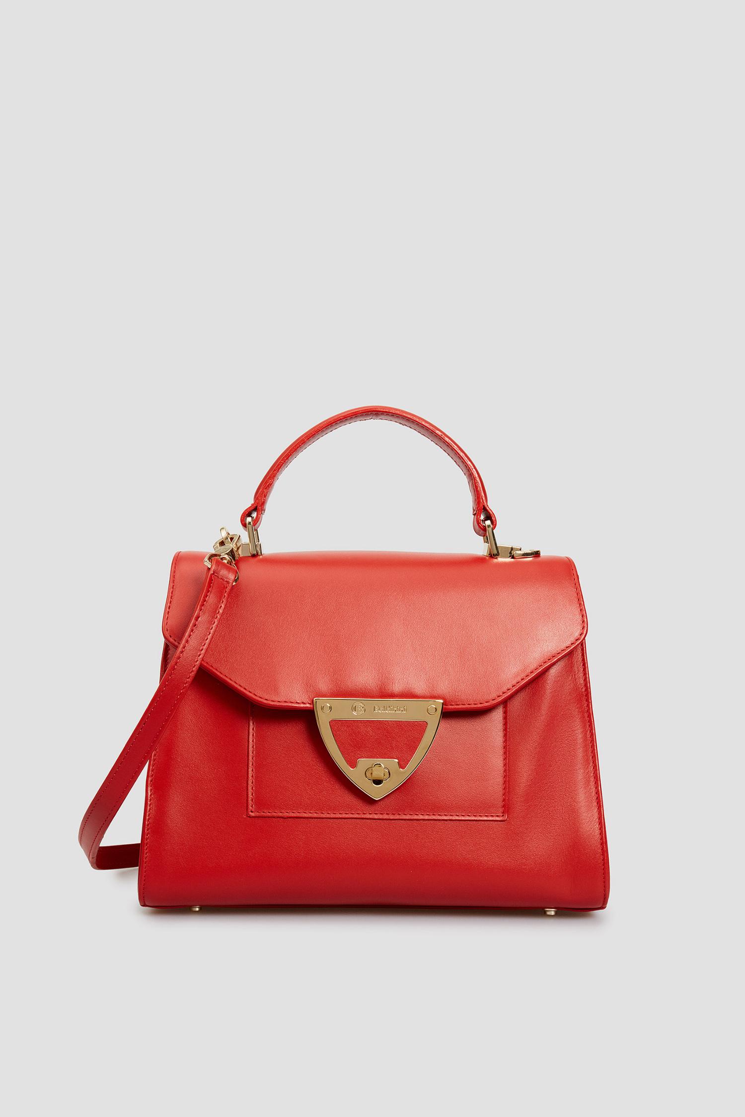 Женская красная кожаная сумка через плечо Baldinini 120215;7014