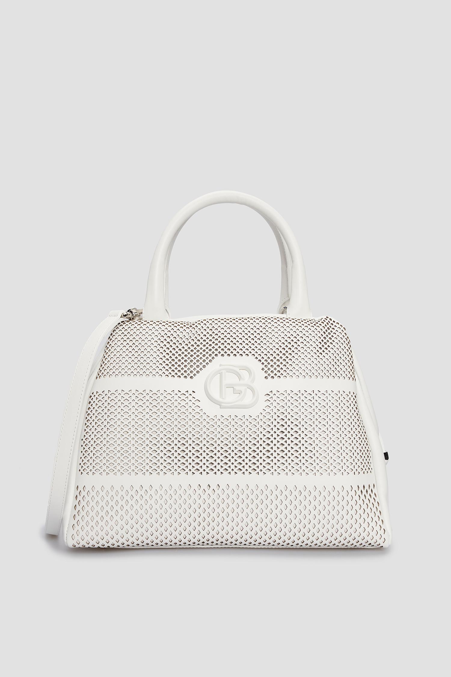 Женская белая кожаная сумка Baldinini 170218;9002