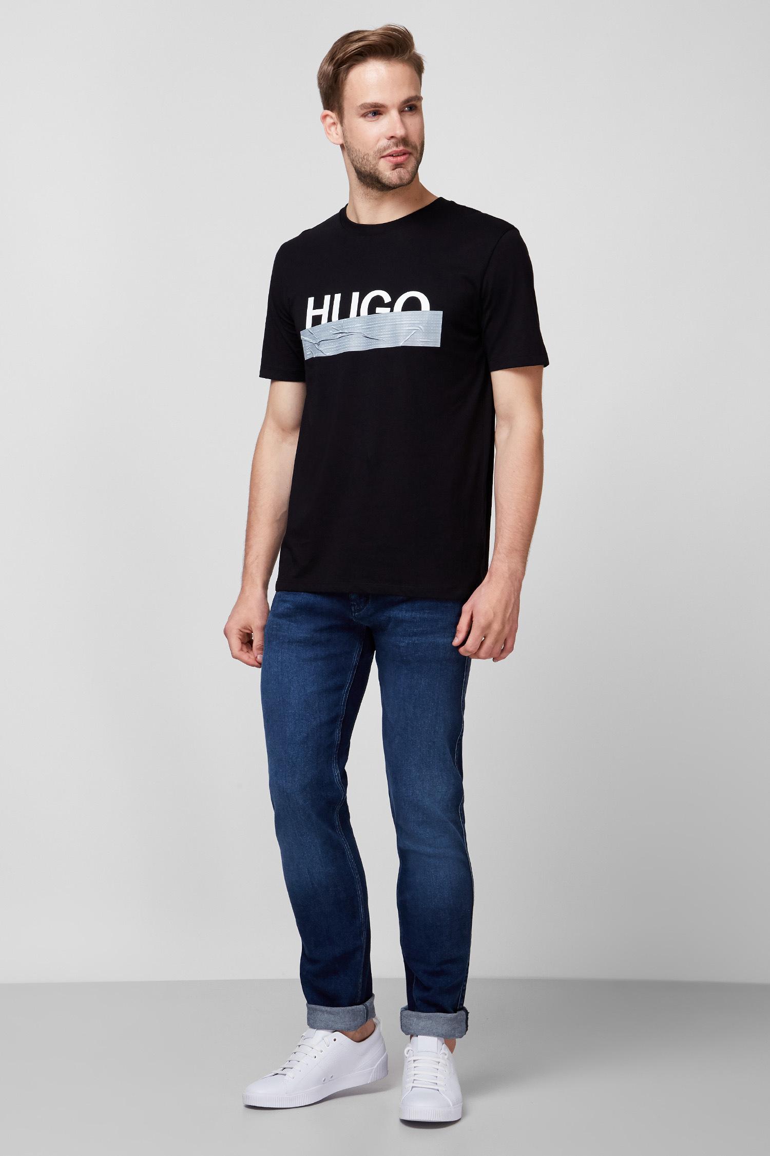 Мужская черная футболка с принтом HUGO 50436413;001