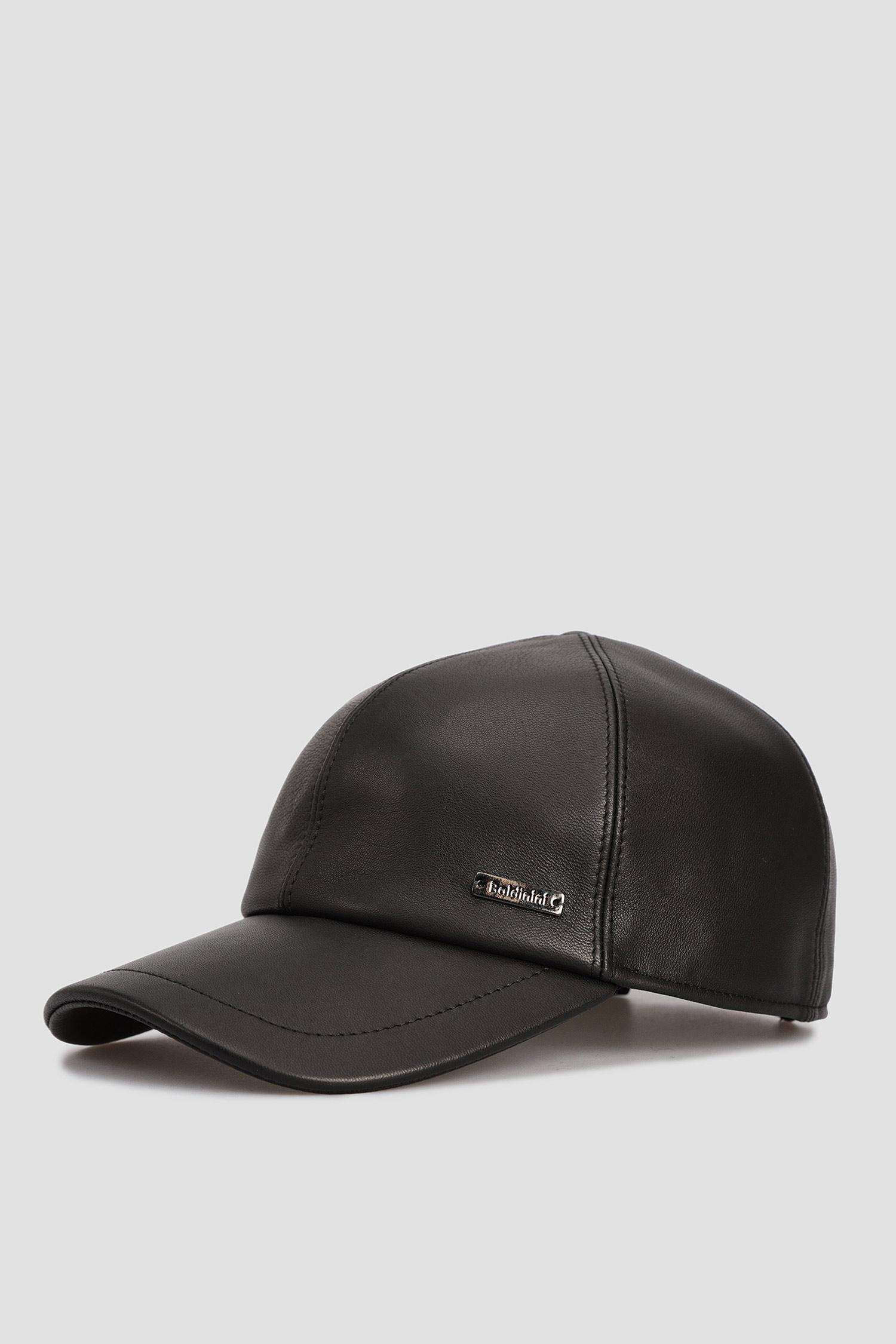 Мужская черная кожаная кепка Baldinini 121110;00