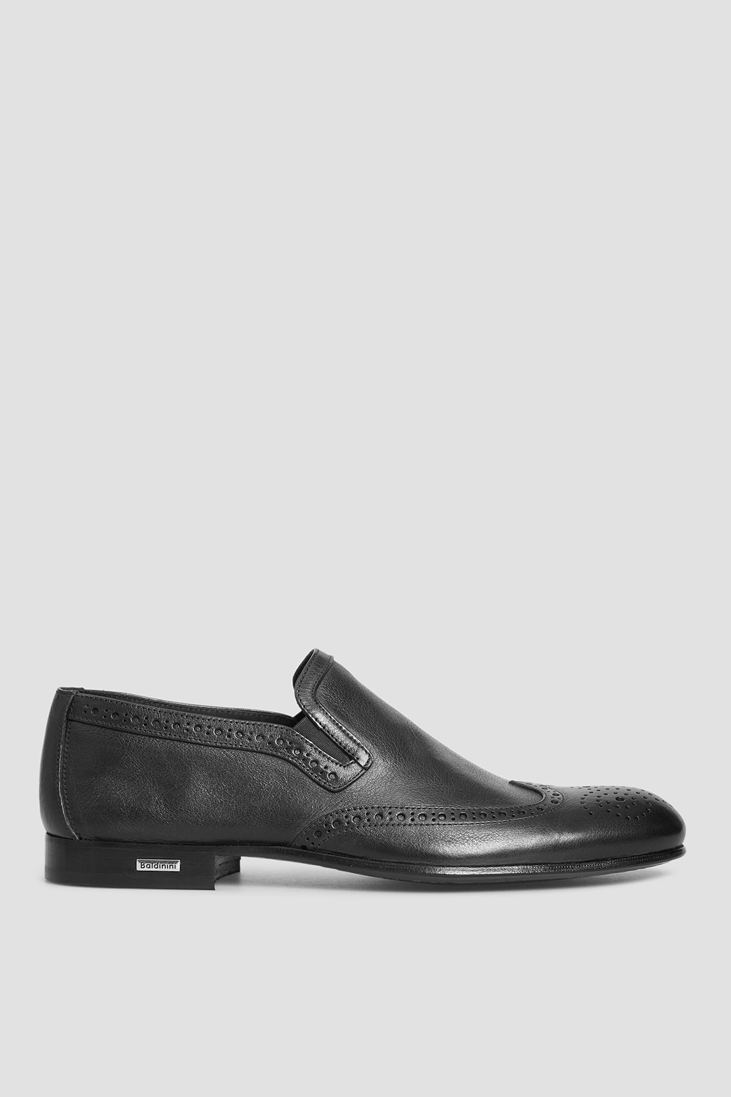 Мужские черные кожаные лоферы Baldinini 196707;00