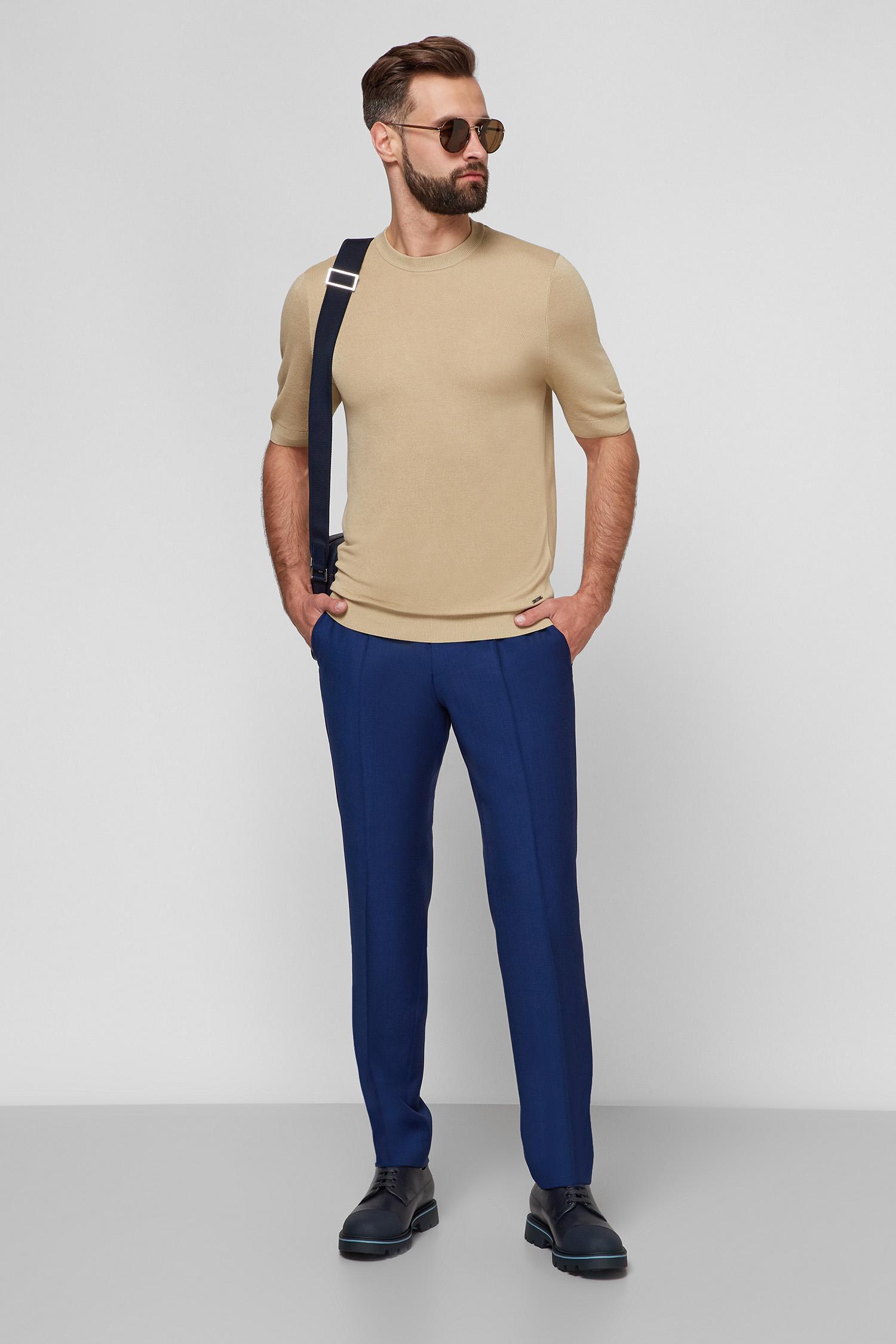 Чоловічі сині вовняні брюки BOSS 50453777;428