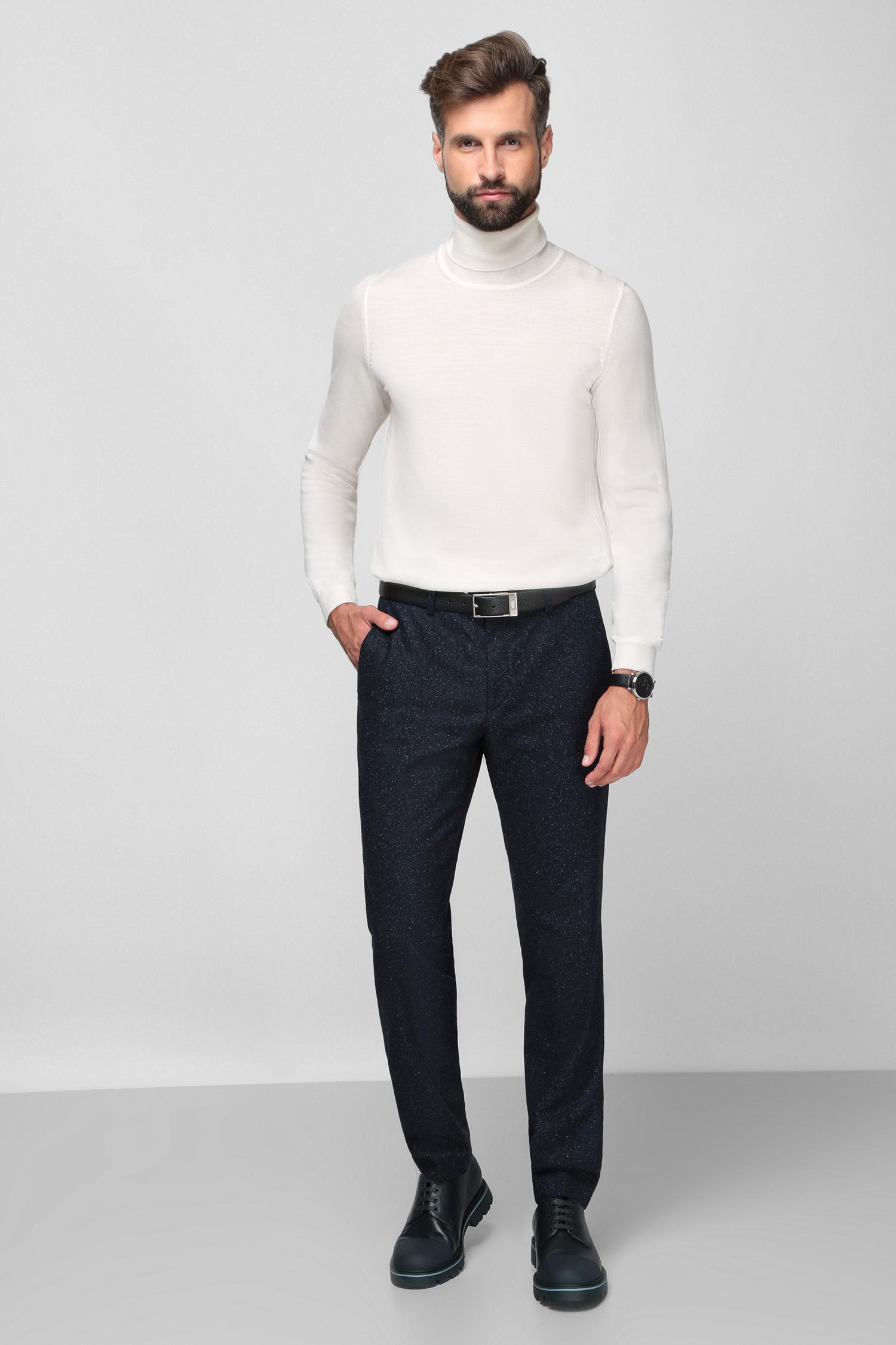 Чоловічі темно-сині вовняні брюки BOSS 50460323;401