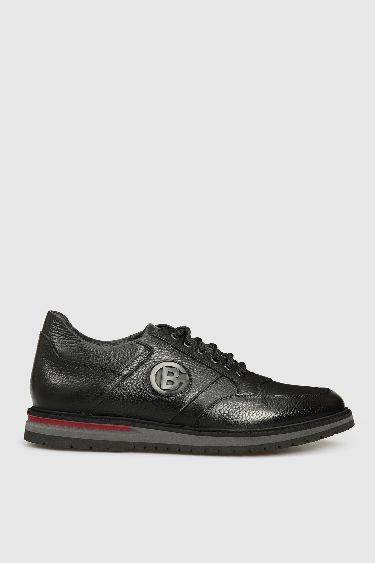 Мужские черные кожаные кроссовки Baldinini 147044;00