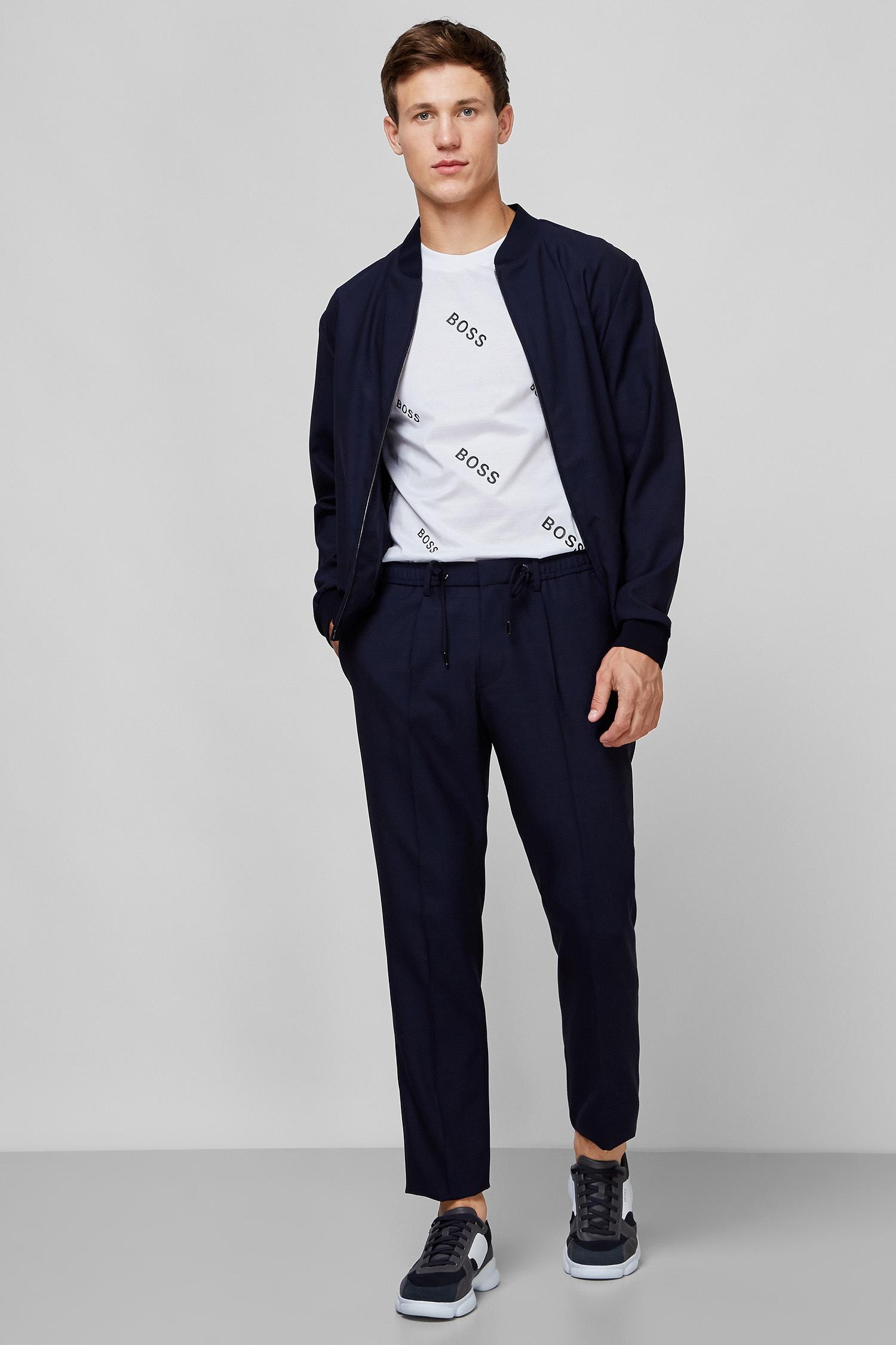 Мужские темно-синие шерстяные брюки BOSS 50432885;402