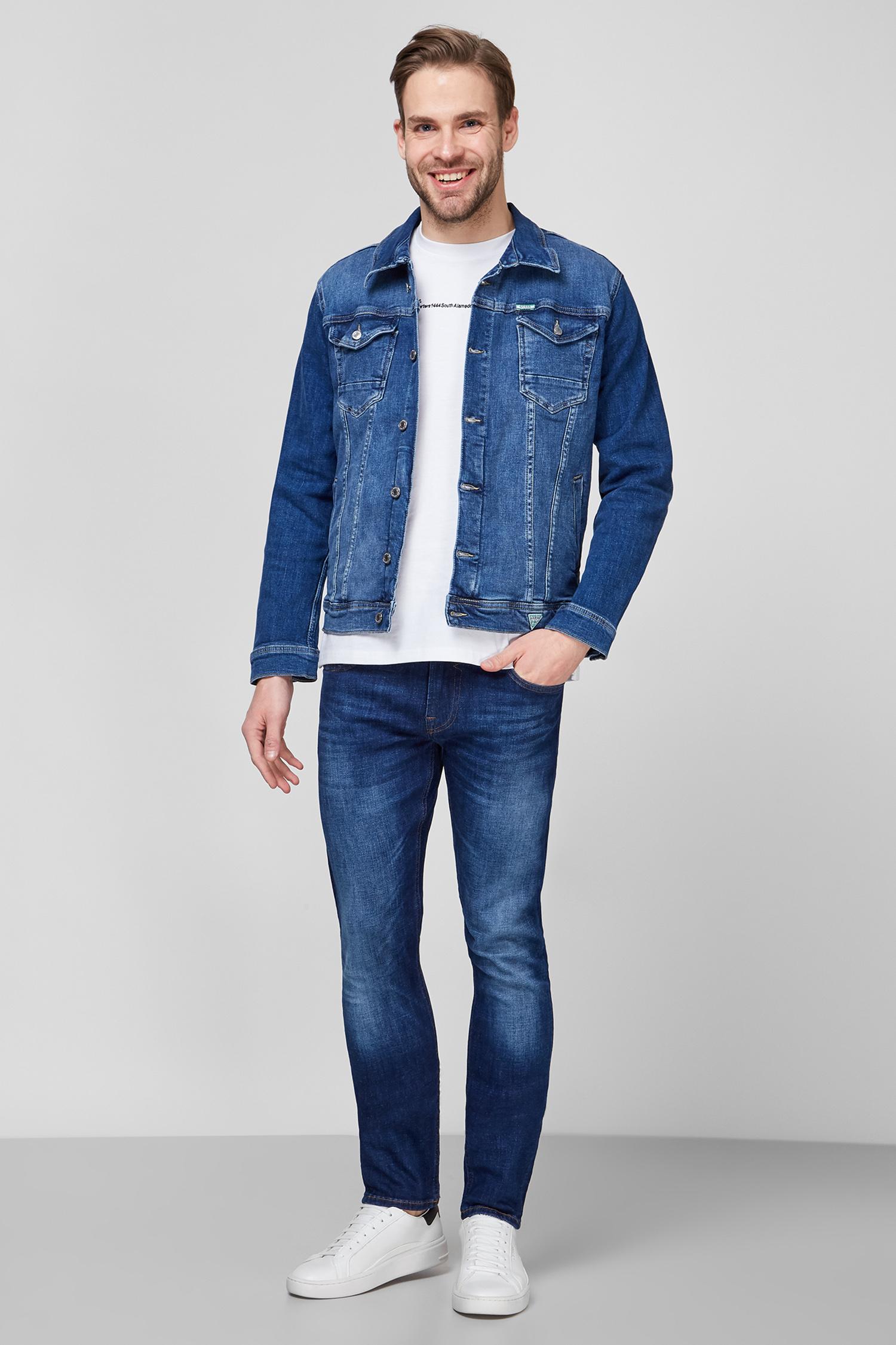 Мужская синяя джинсовая куртка Guess M1RN14.D4B71;DUKS