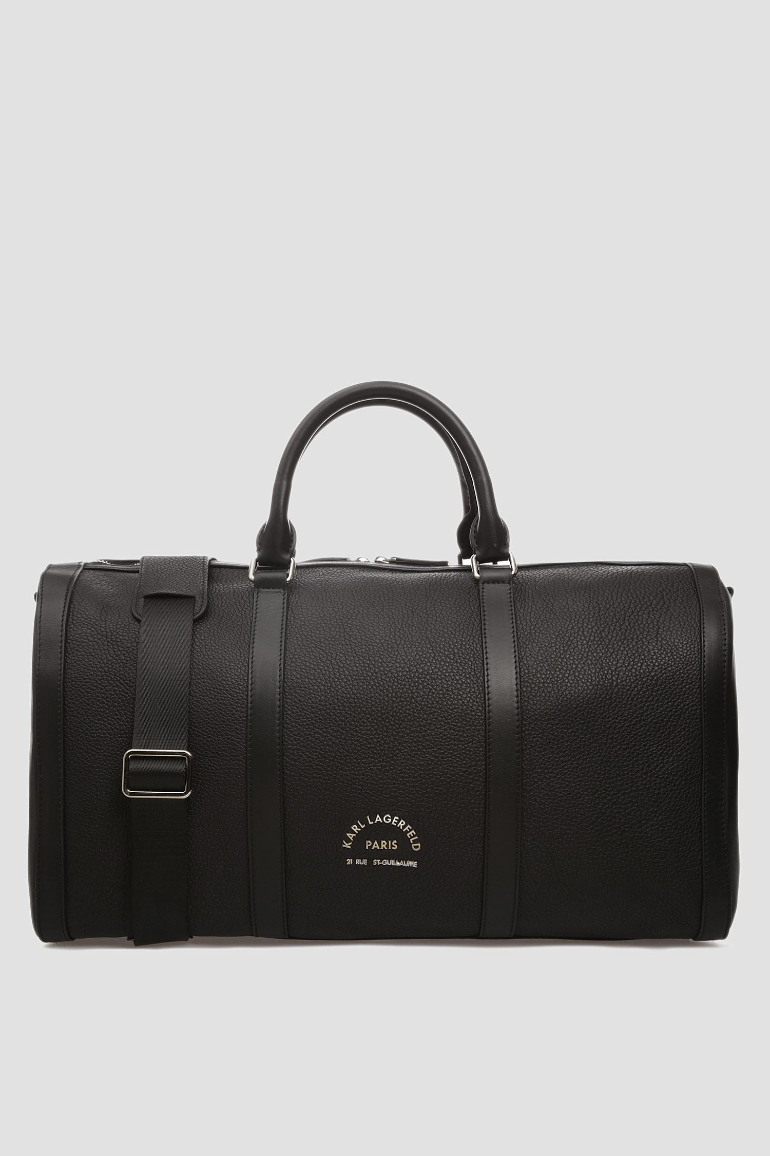 Чоловіча чорна шкіряна дорожня сумка Karl Lagerfeld 592451.815900;990
