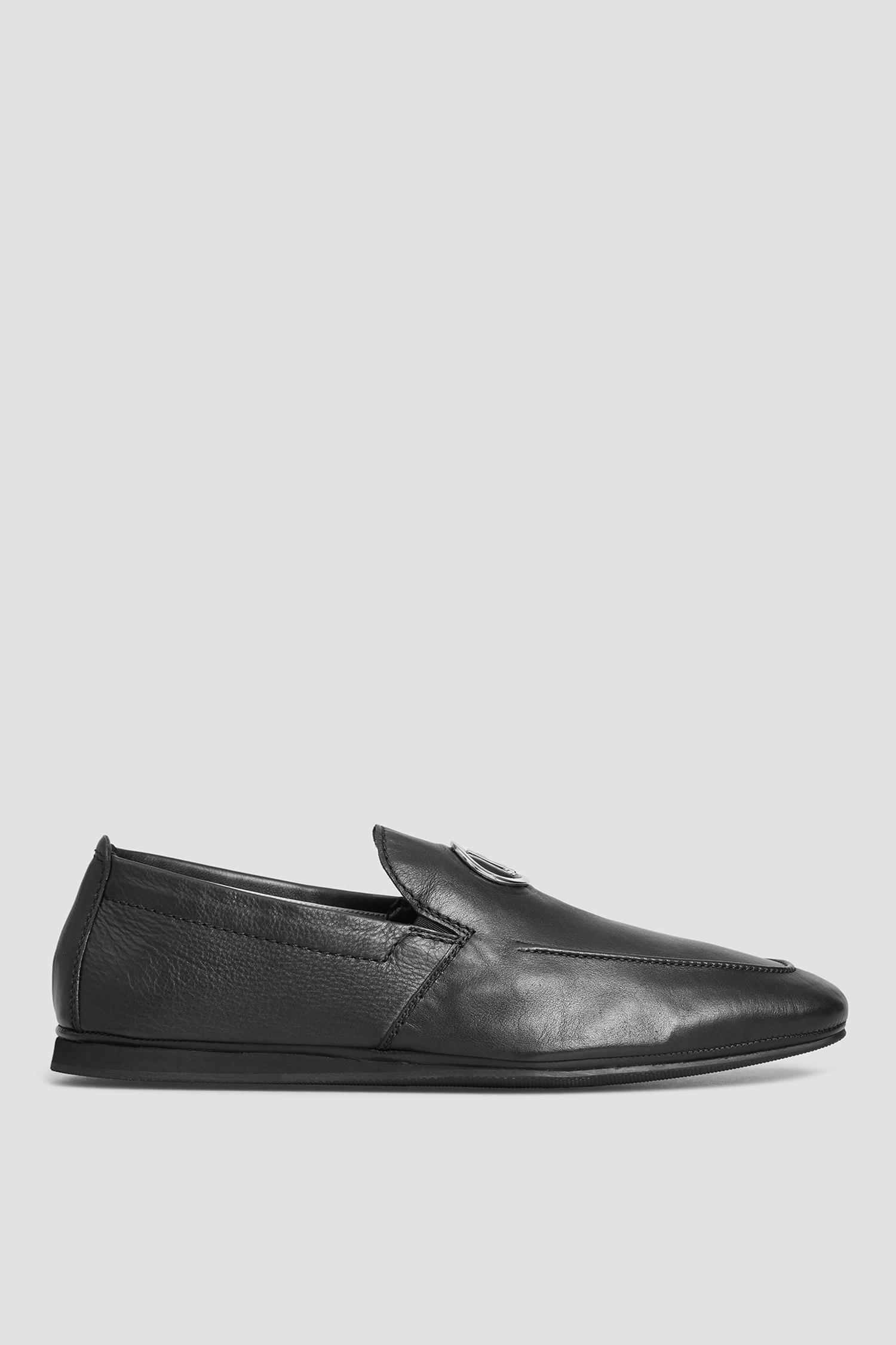 Мужские черные кожаные мокасины Baldinini 197041;00