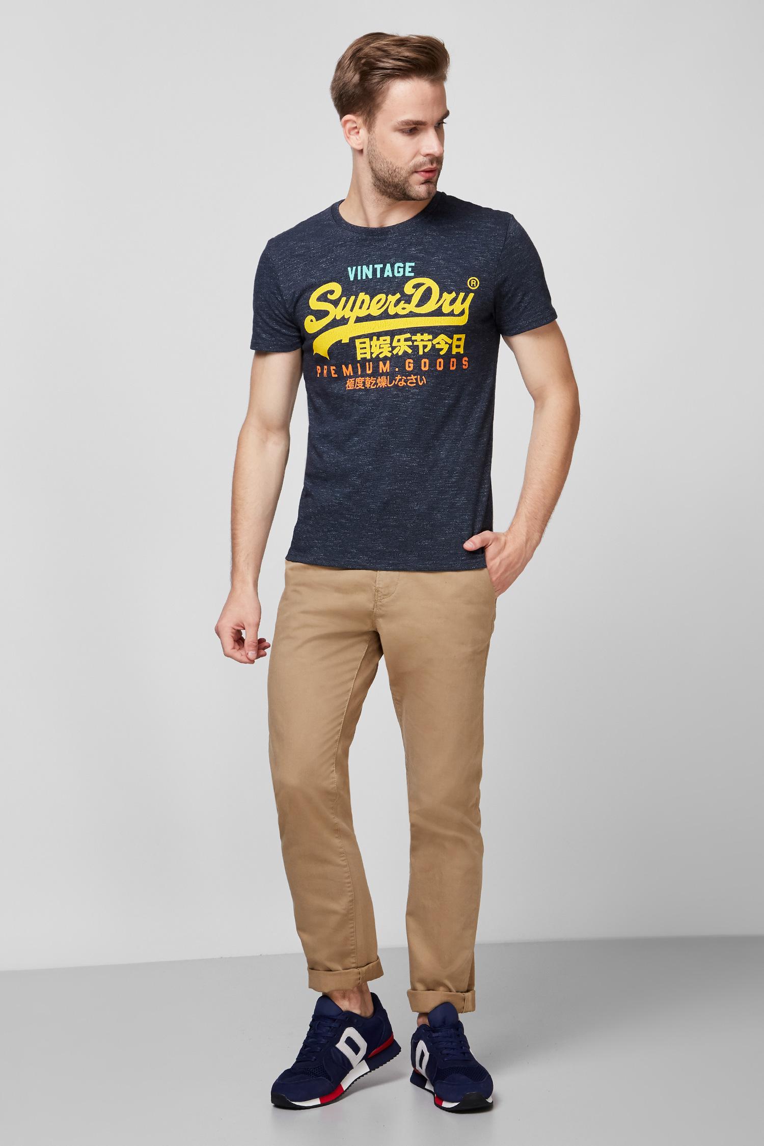 Мужская темно-синяя футболка с принтом SuperDry M1010344A;3ZG