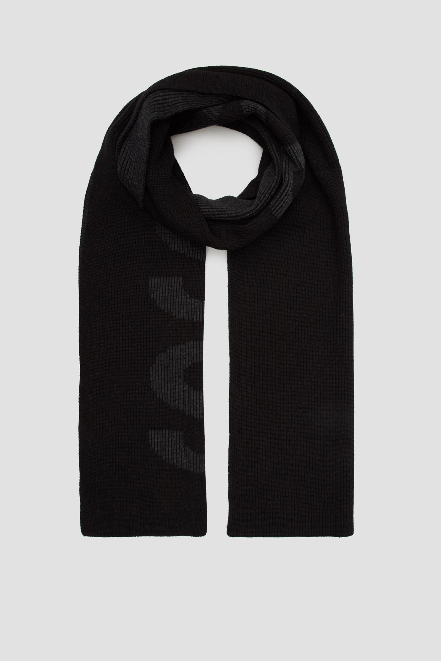 Чоловічий чорний шарф BOSS 50455684;001