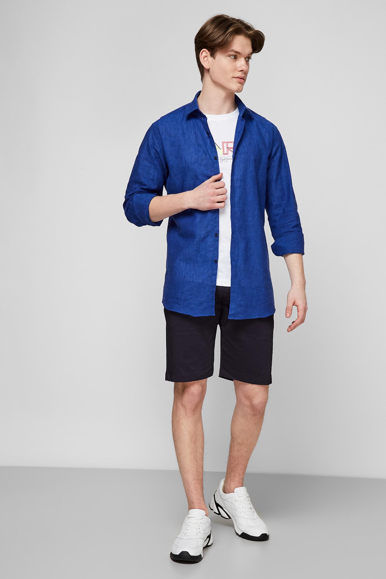 Синяя льняная рубашка для парней Karl Lagerfeld 511628.605003;660