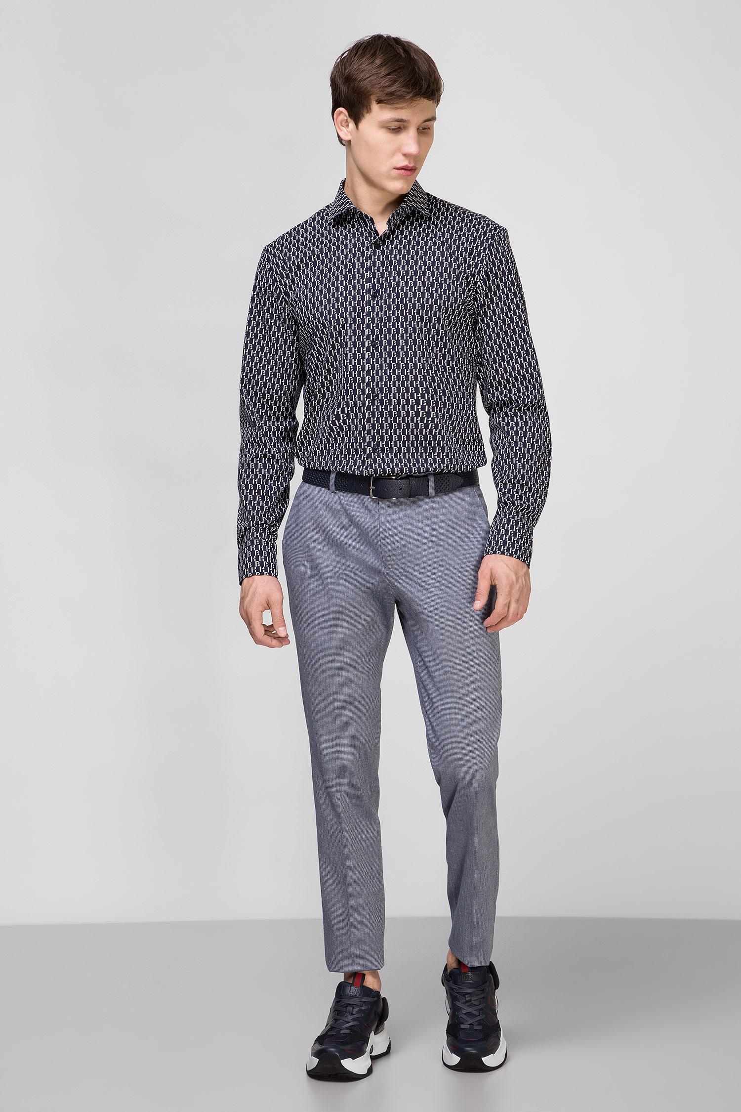 Мужская темно-синяя рубашка с узором BOSS 50428159;410