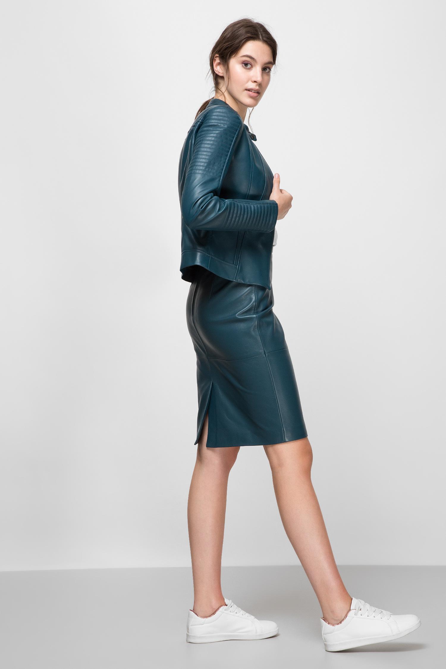 Женская синяя кожаная куртка BOSS 50432844;414