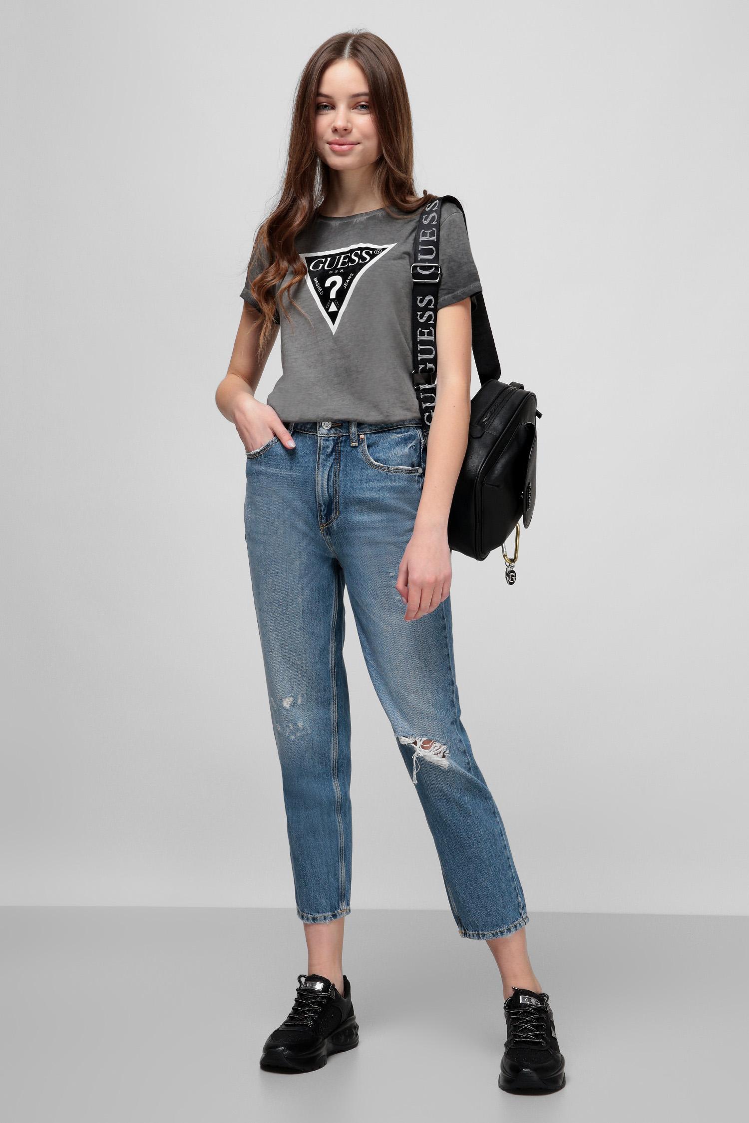 Темно-серая футболка для девушек Guess W0YI13.R5JK1;JBLK