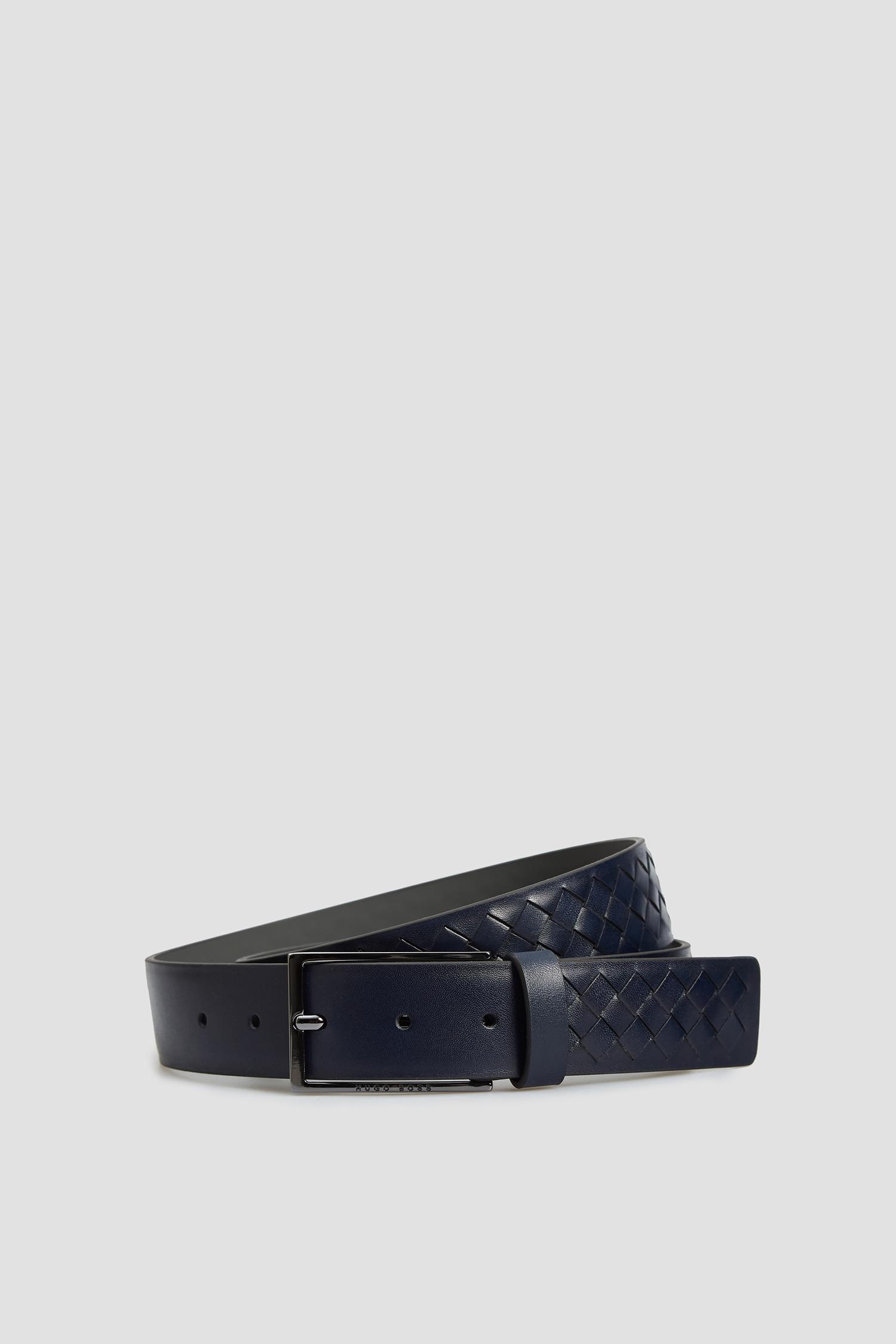 Мужской темно-синий кожаный ремень BOSS 50452457;401