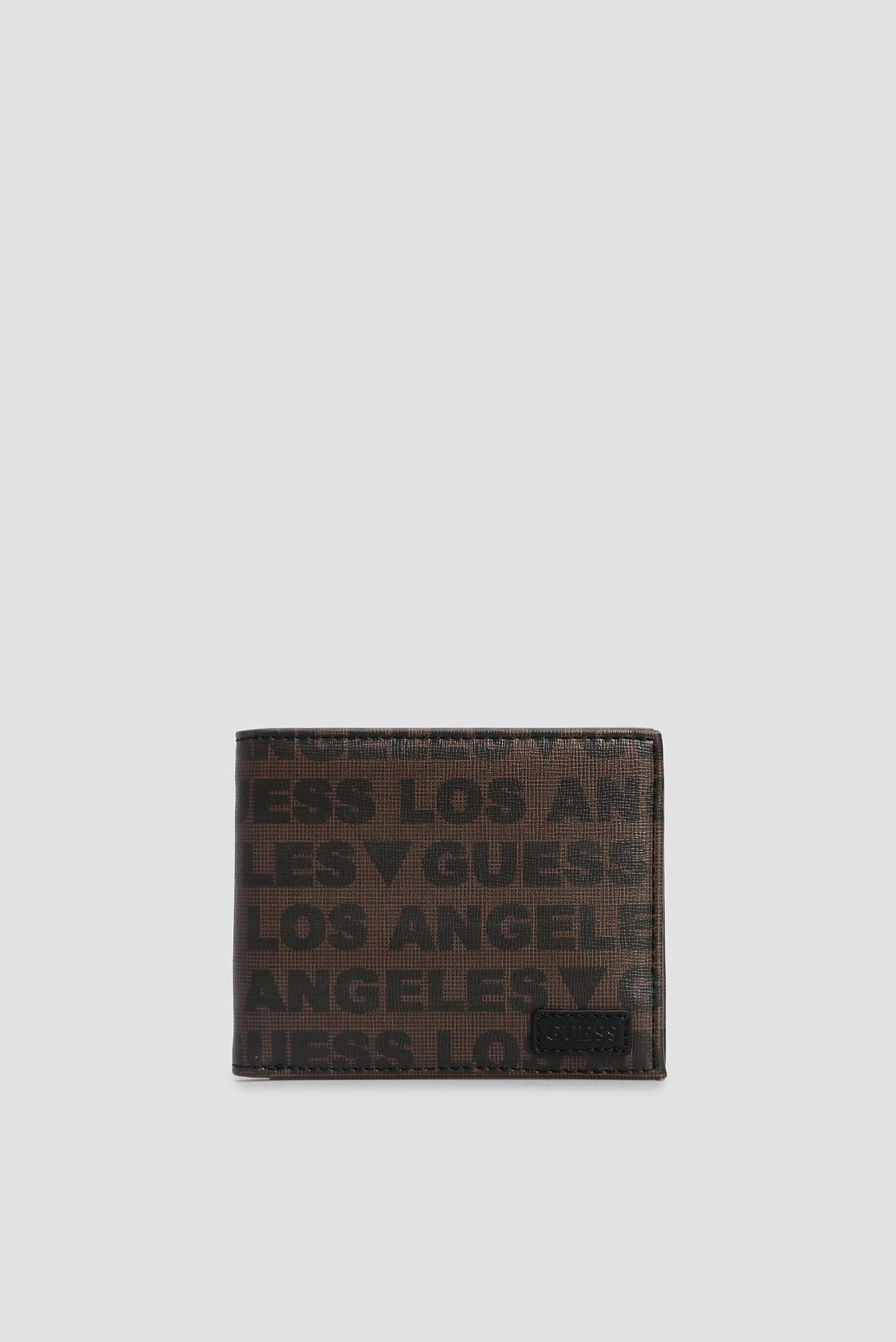 Мужской коричневый кожаный кошелек с узором Guess SMDNLA.LEA20;BRO