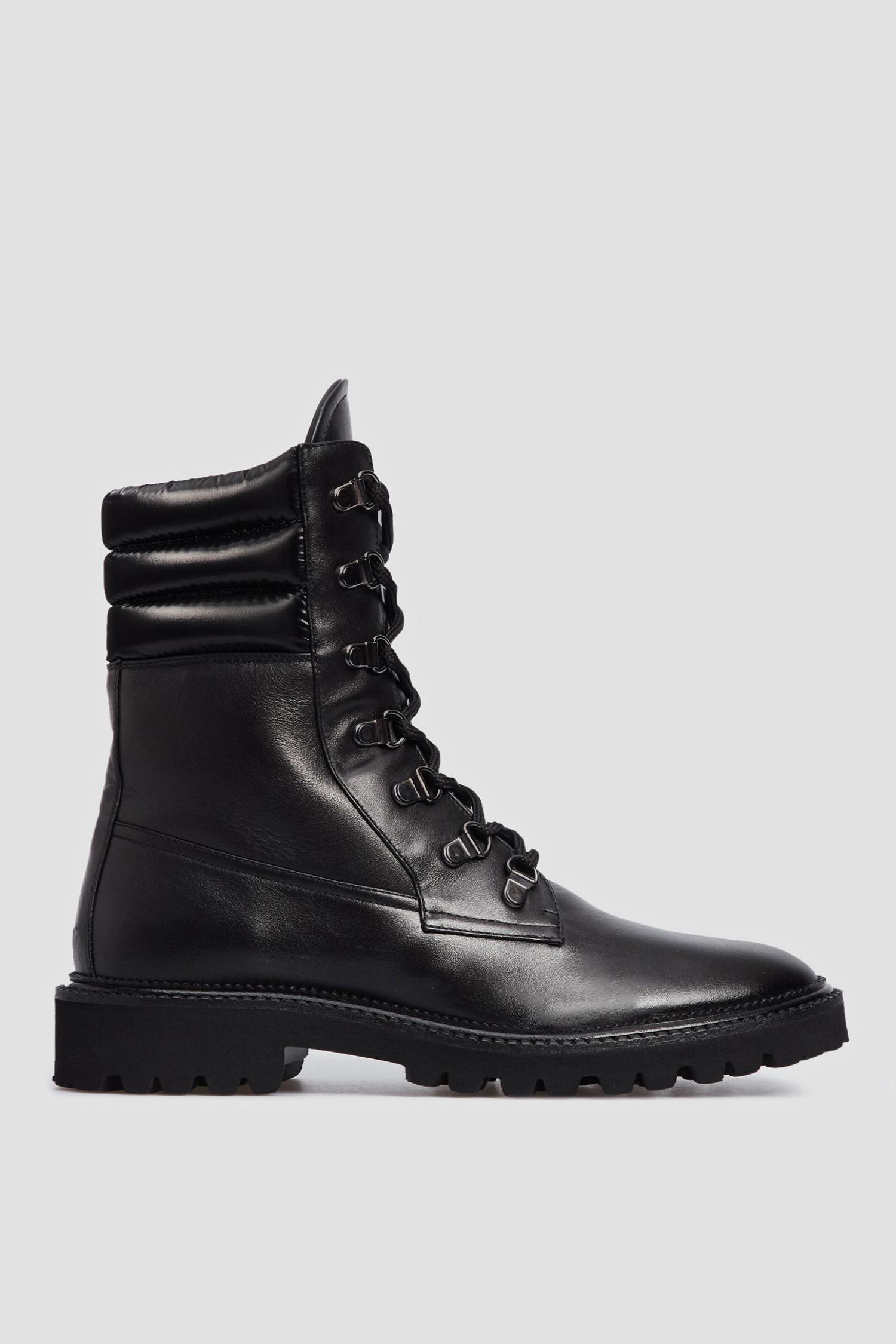 Женские черные кожаные ботинки Baldinini 149157;00
