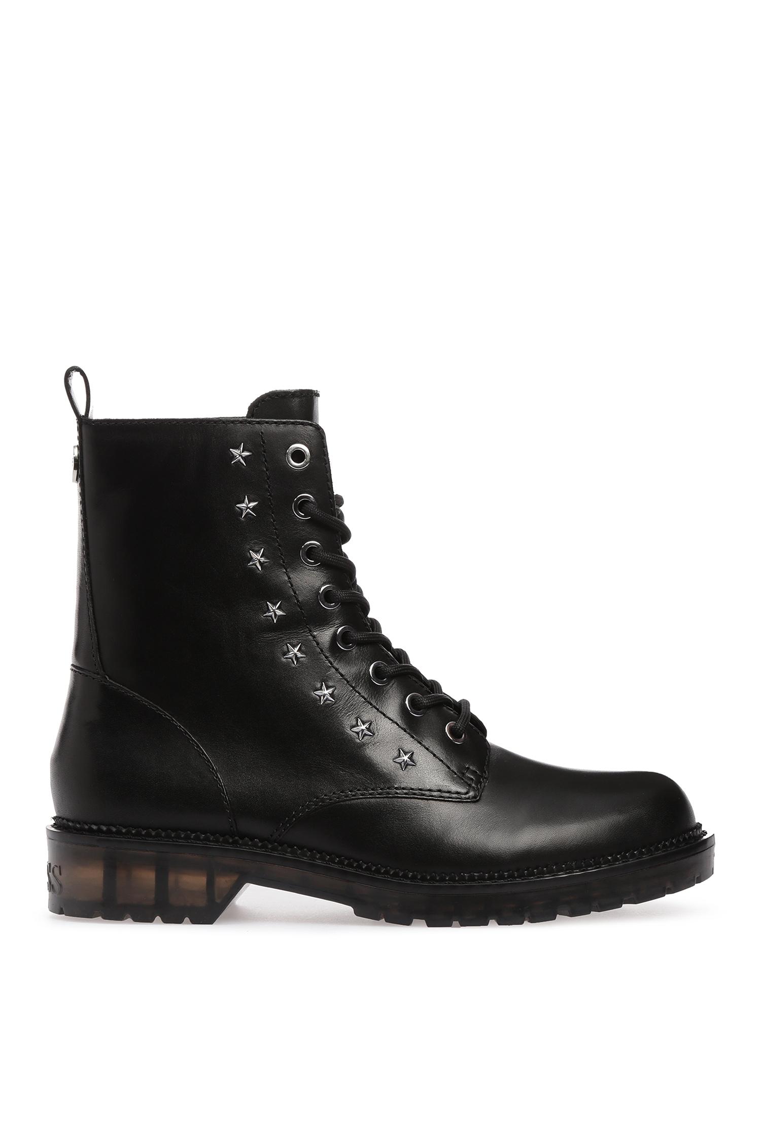 Женские черные кожаные ботинки Guess FL5TAV.LEA10;BLACK