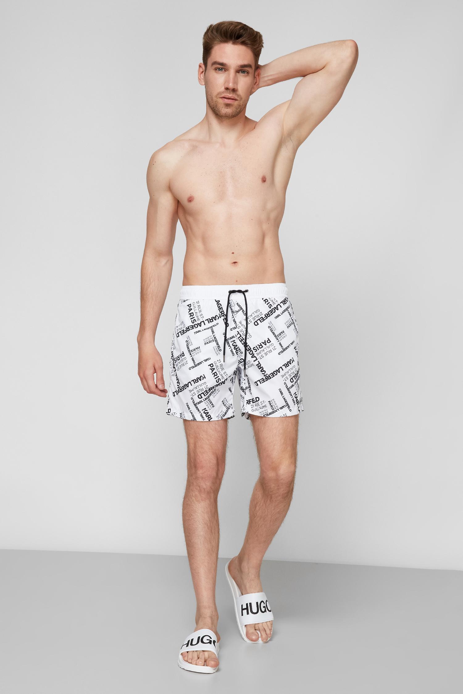 Мужские белые плавательные шорты Karl Lagerfeld KL21MBM14;WHITE