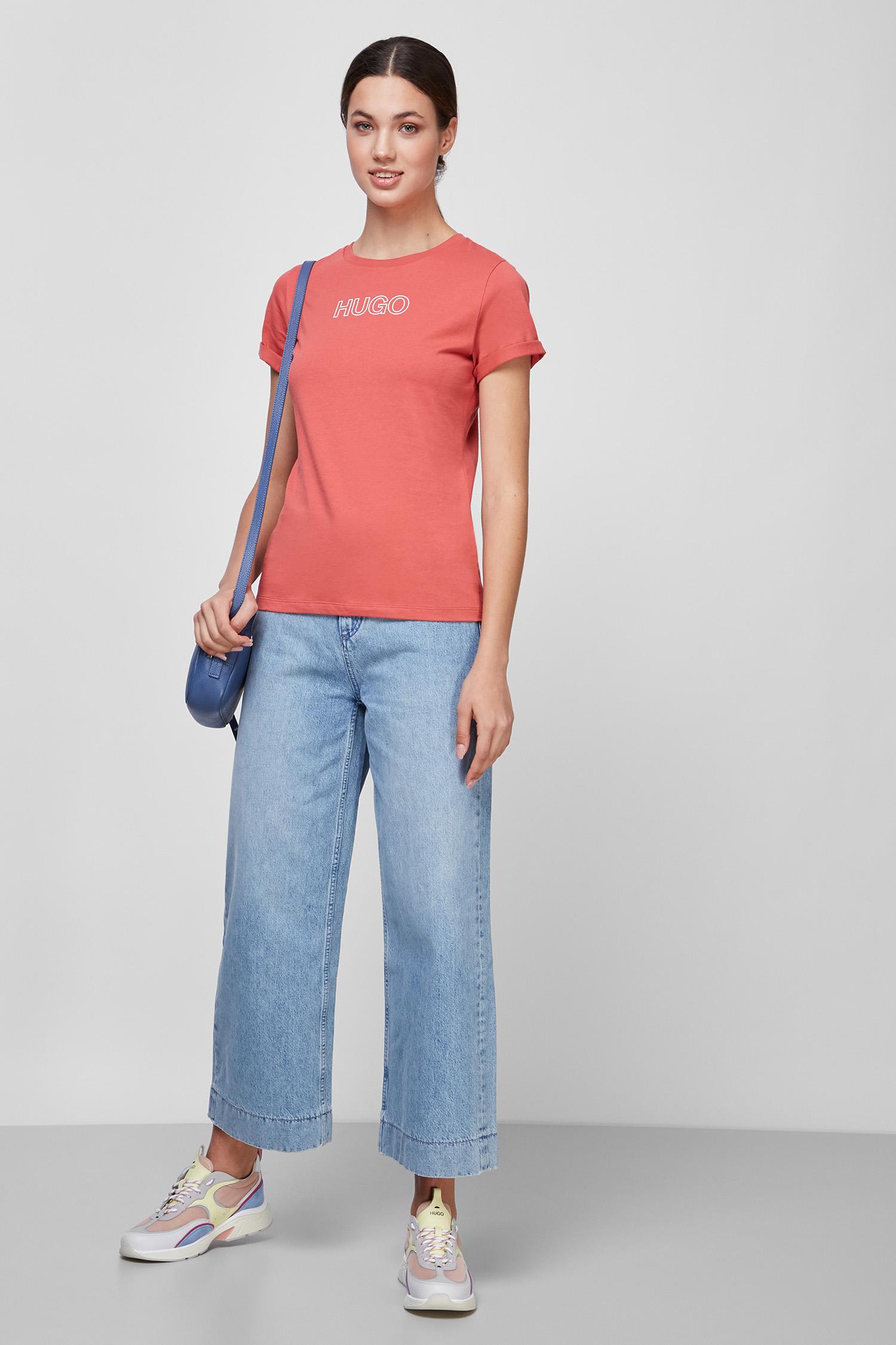 Женская терракотовая футболка HUGO 50447853;970