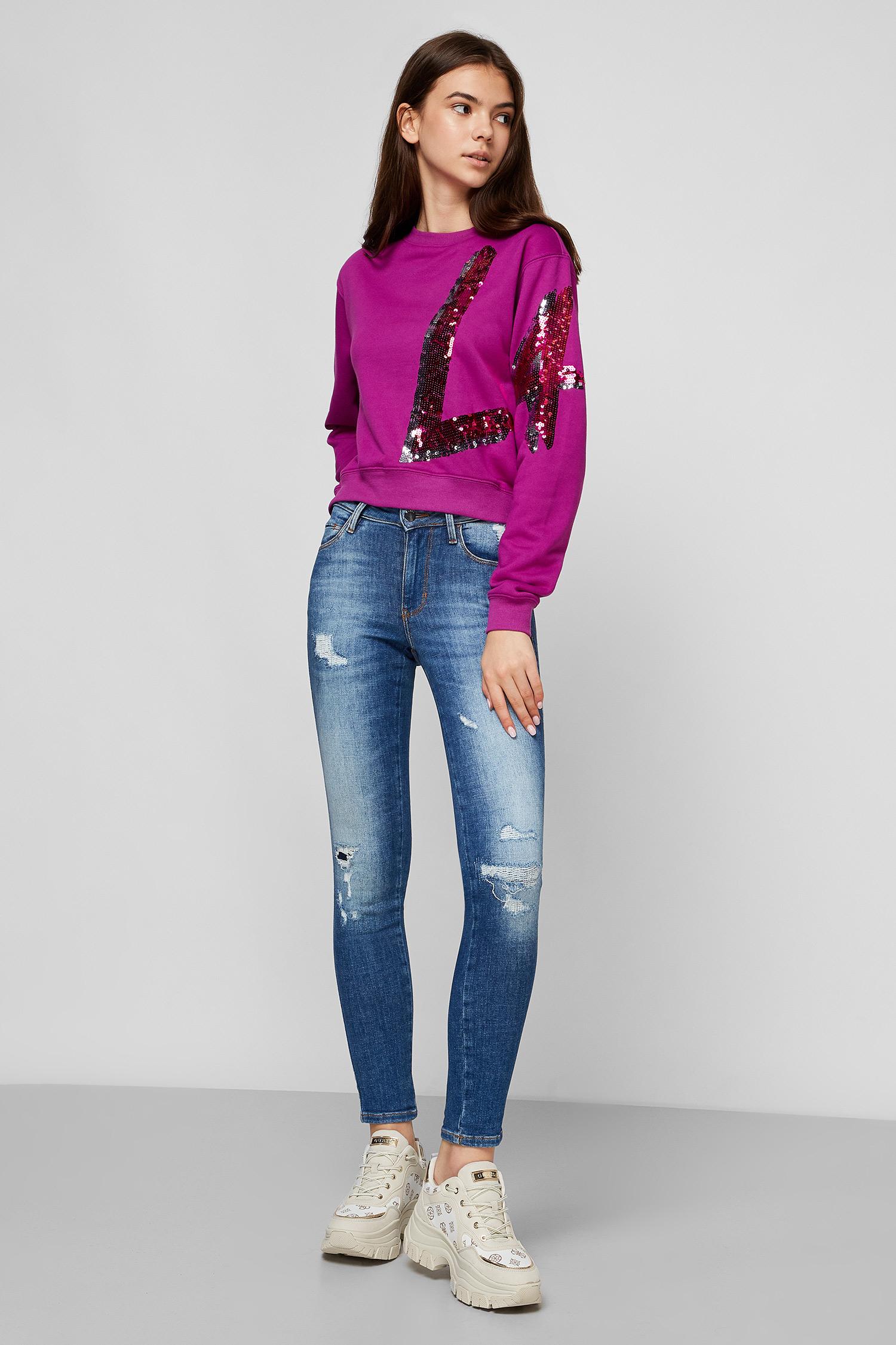 Фиолетовый свитшот для девушек Guess W0YQ77.K8800;G406